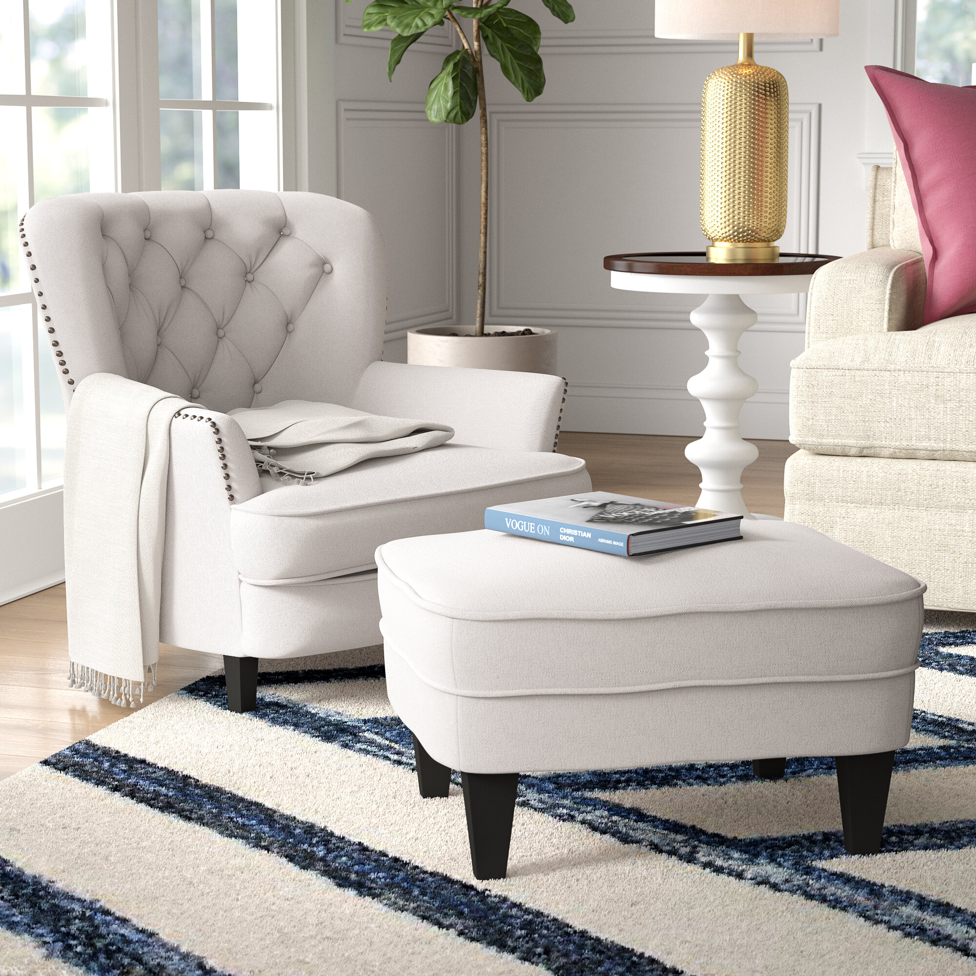 """Becker 24"""" Armchair And Ottoman With Regard To Ronald Polyester Blend Armchairs (View 10 of 15)"""