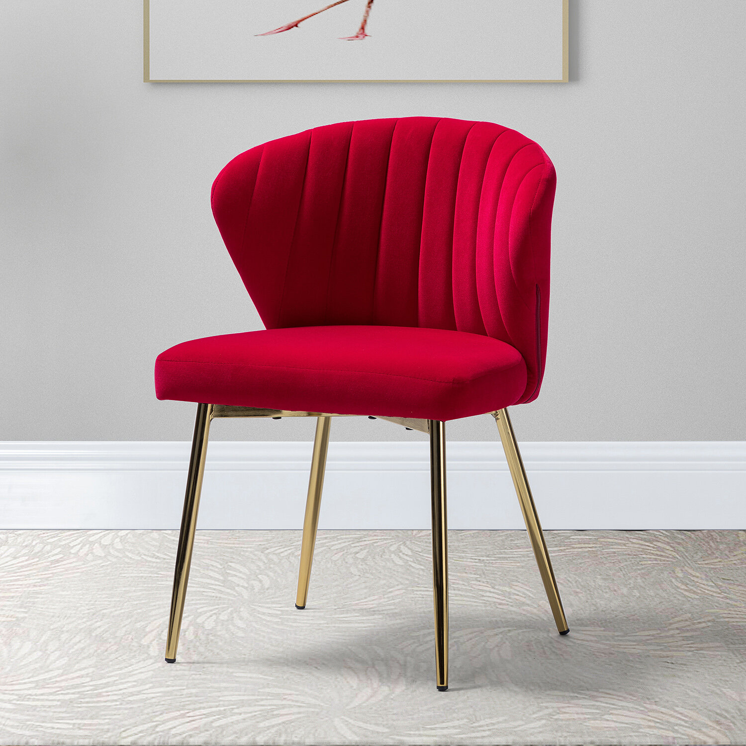 Beige & Red Accent Chairs You'Ll Love In 2021 | Wayfair With Regard To Daulton Velvet Side Chairs (View 7 of 15)