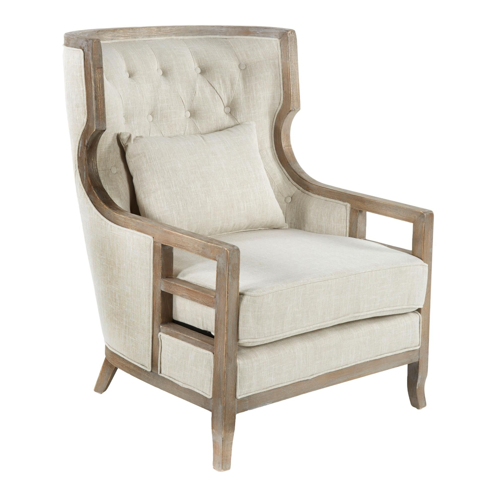 Beige Tufted Linen And Wood Willa Upholstered Armchair In Myia Armchairs (View 15 of 15)