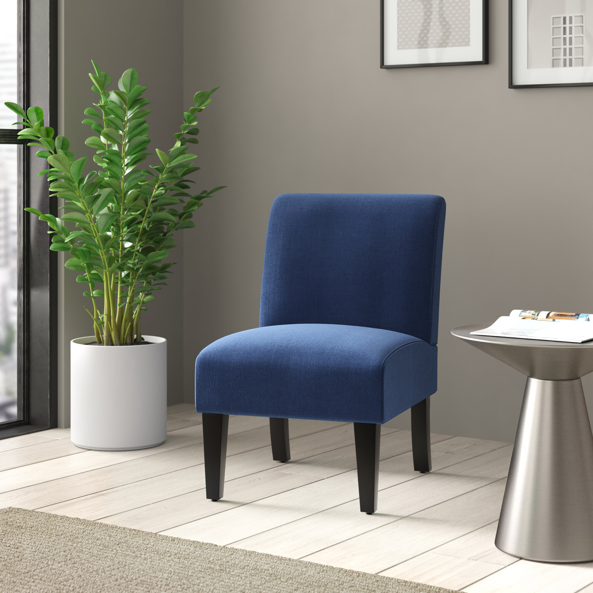 Belleze Armless Contemporary Upholstered Single Curved Slipper Accent Chair Living Room Bedroom – Walmart For Armless Upholstered Slipper Chairs (View 4 of 15)