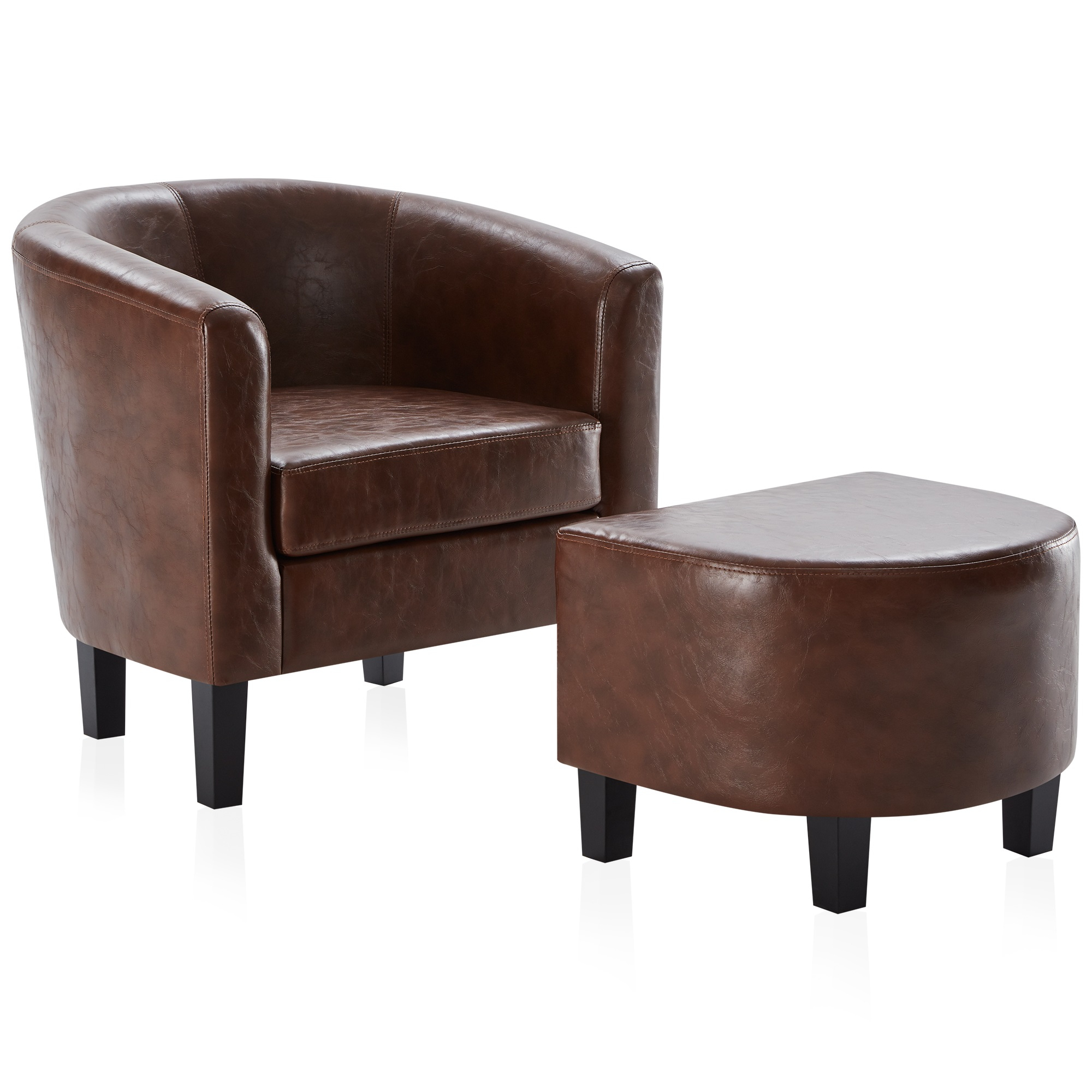 Belleze Modern Barrel Accent Chair With Ottoman Linen/ Faux Leather Round Arms Footrest Set – Walmart In Faux Leather Barrel Chair And Ottoman Sets (View 5 of 15)