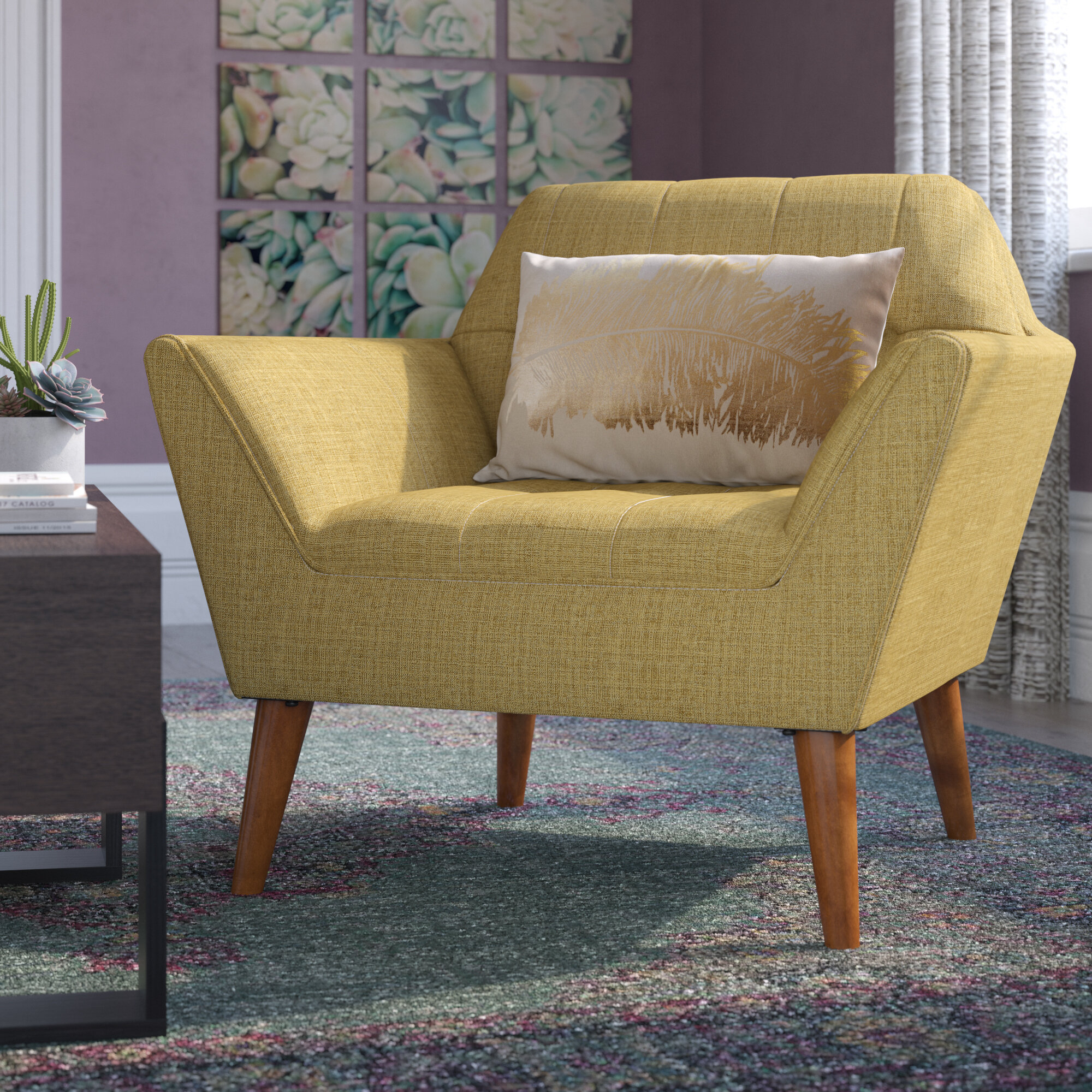 "Belz 38"" W Tufted Polyester Armchair Within Belz Tufted Polyester Armchairs (View 2 of 15)"