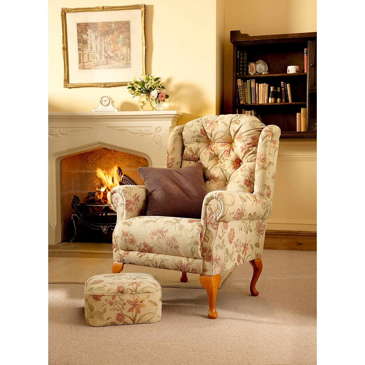 Bespoke Handmade Button Back Queen Anne Armchair For Portmeirion Armchairs (View 6 of 15)