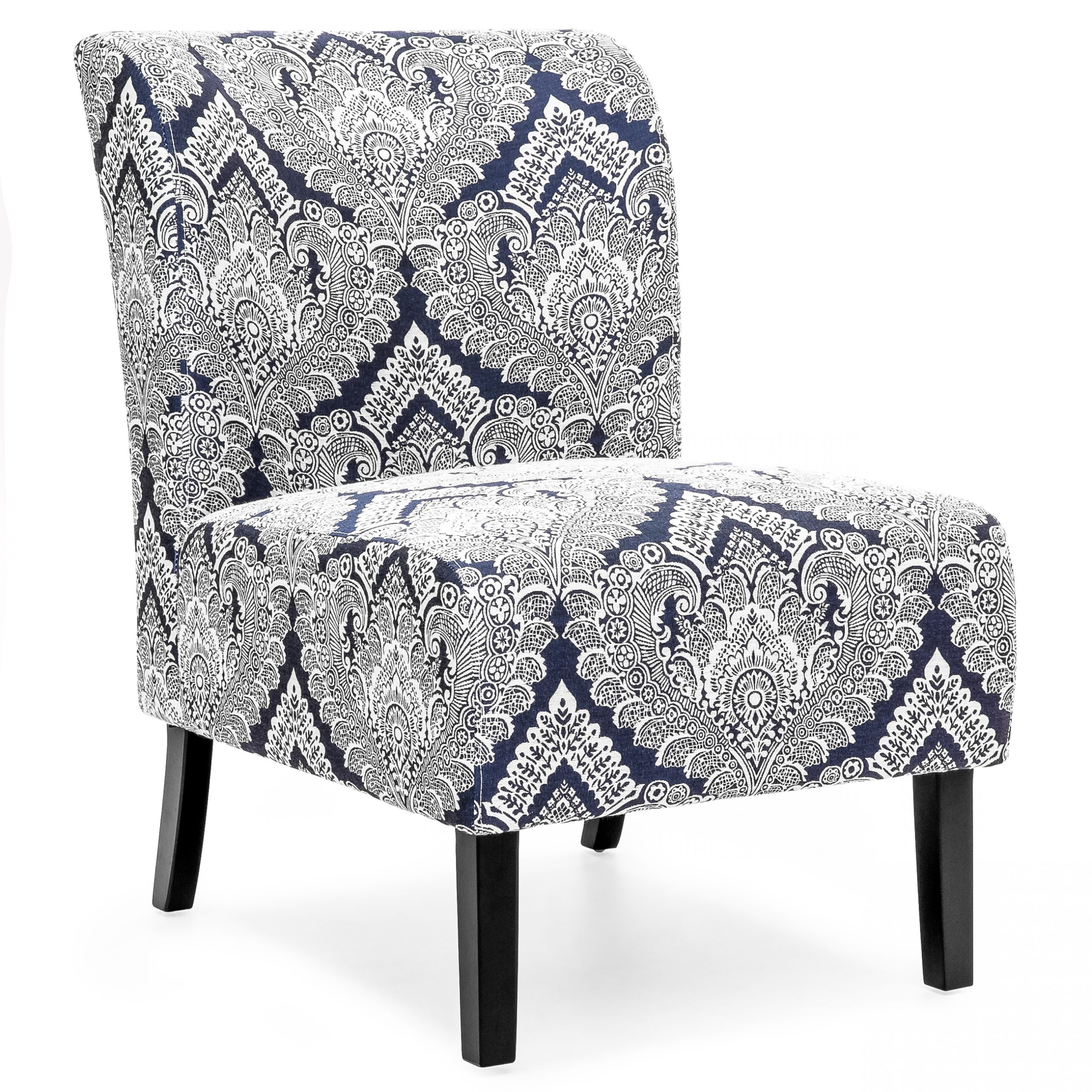 Best Choice Products Modern Contemporary Upholstered Armless Accent Chair (Blue/White) – Walmart Intended For Armless Upholstered Slipper Chairs (View 11 of 15)