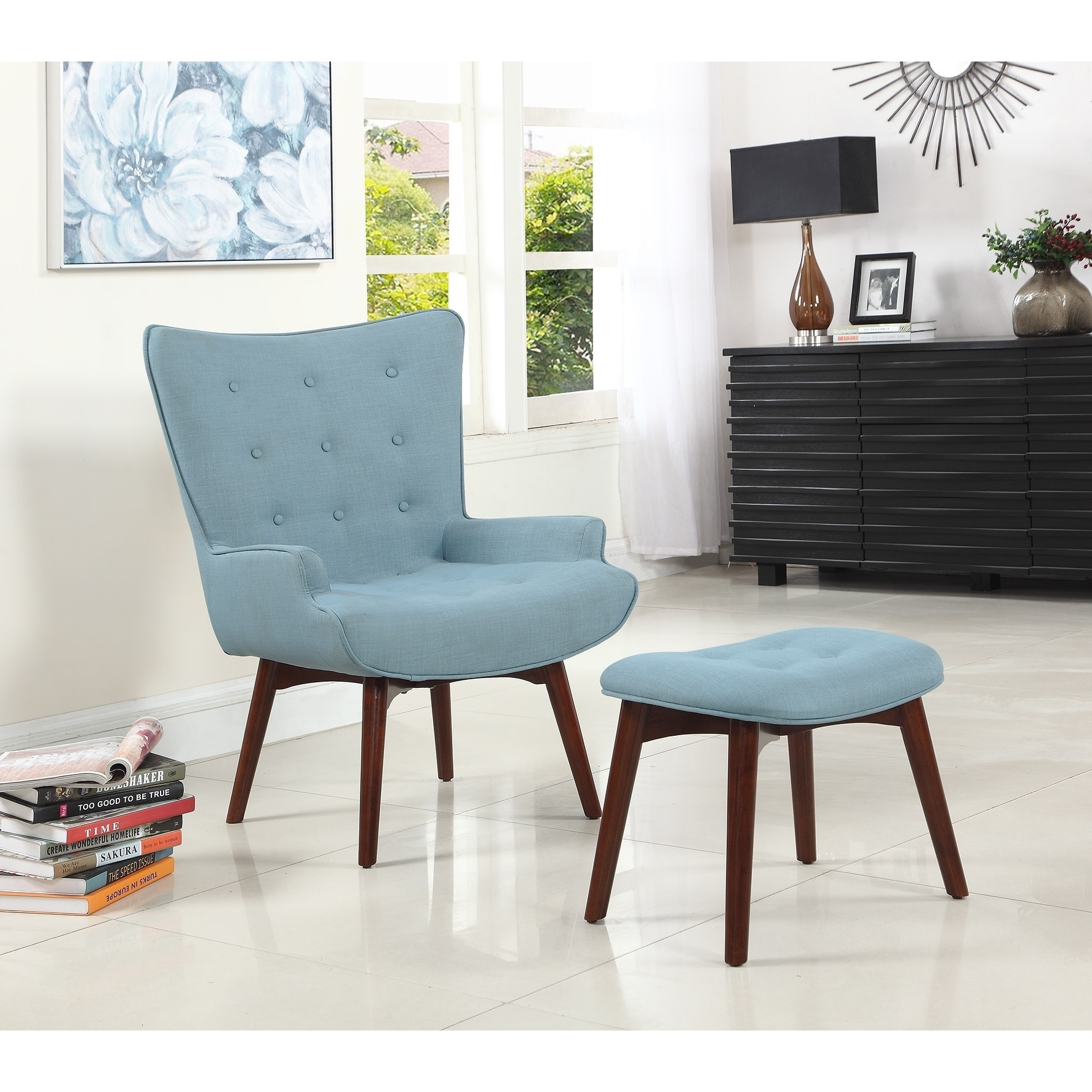 Best Master Furniture Capri Arm Chair And Ottoman Pertaining To Ronald Polyester Blend Armchairs (View 6 of 15)