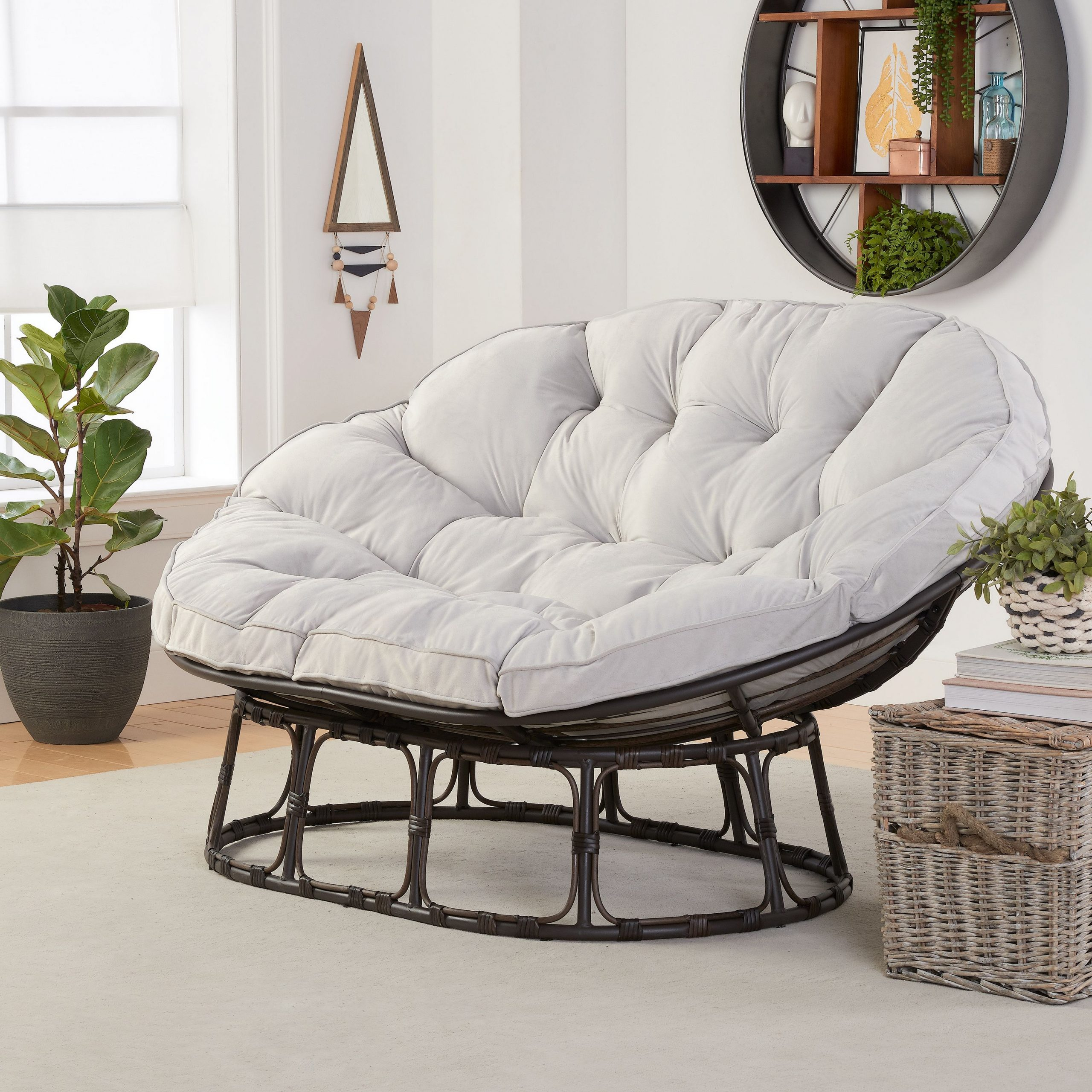 Better Homes & Gardens Papasan Bench With Cushion, Pumice Gray – Walmart Regarding Decker Papasan Chairs (View 9 of 15)