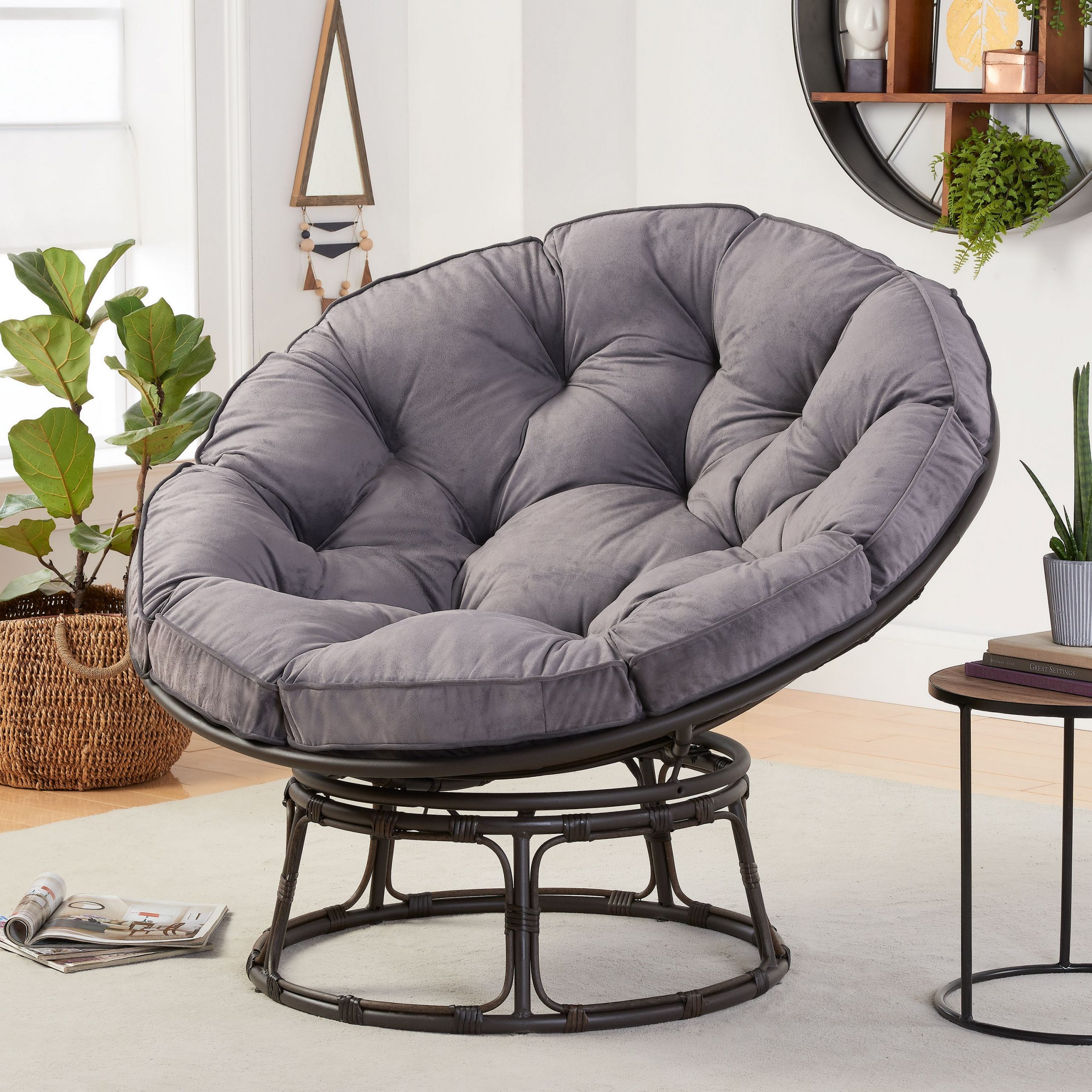Better Homes & Gardens Papasan Chair With Fabric Cushion, Charcoal Gray – Walmart With Decker Papasan Chairs (View 4 of 15)