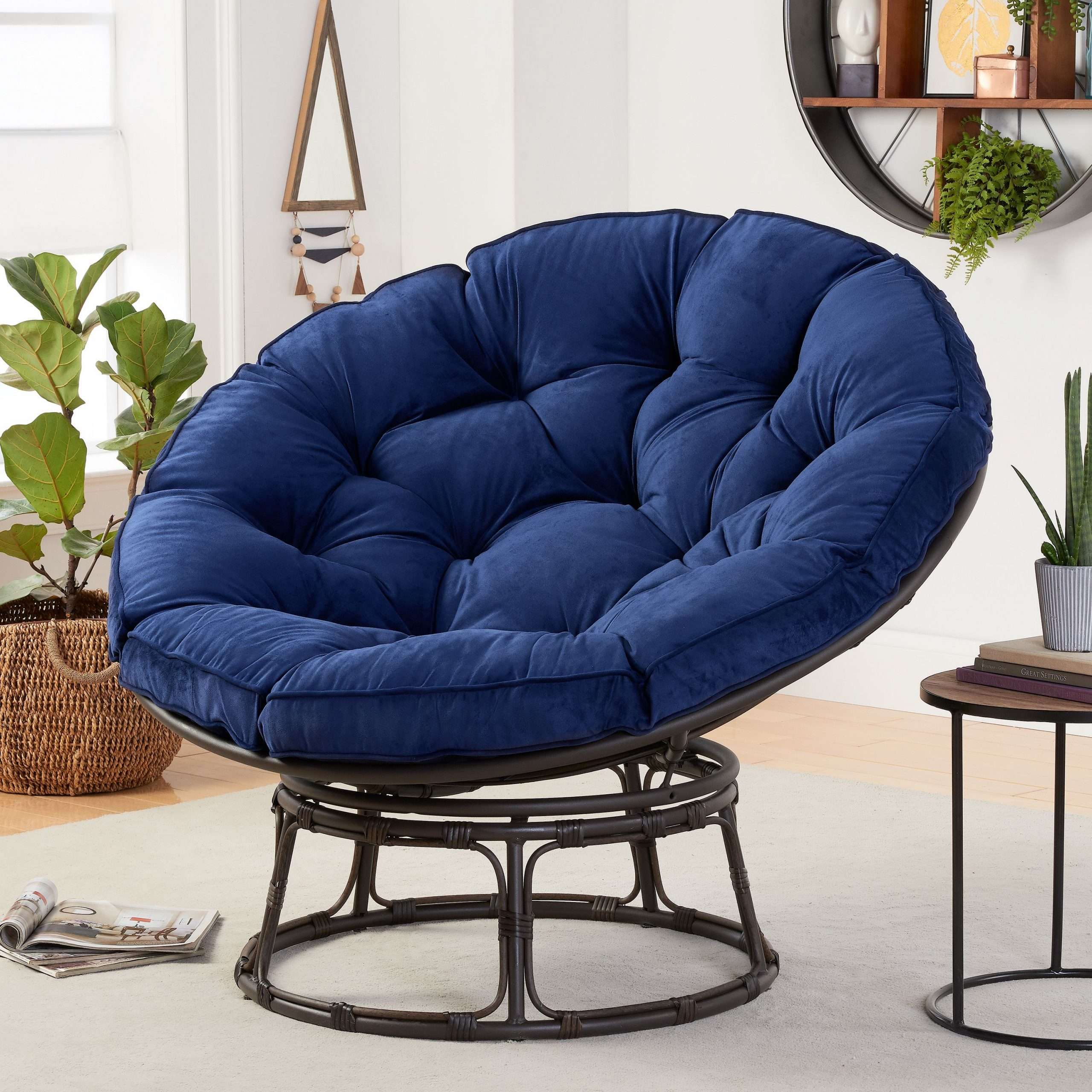 Better Homes & Gardens Papasan Chair With Fabric Cushion, Navy – Walmart In Decker Papasan Chairs (View 6 of 15)