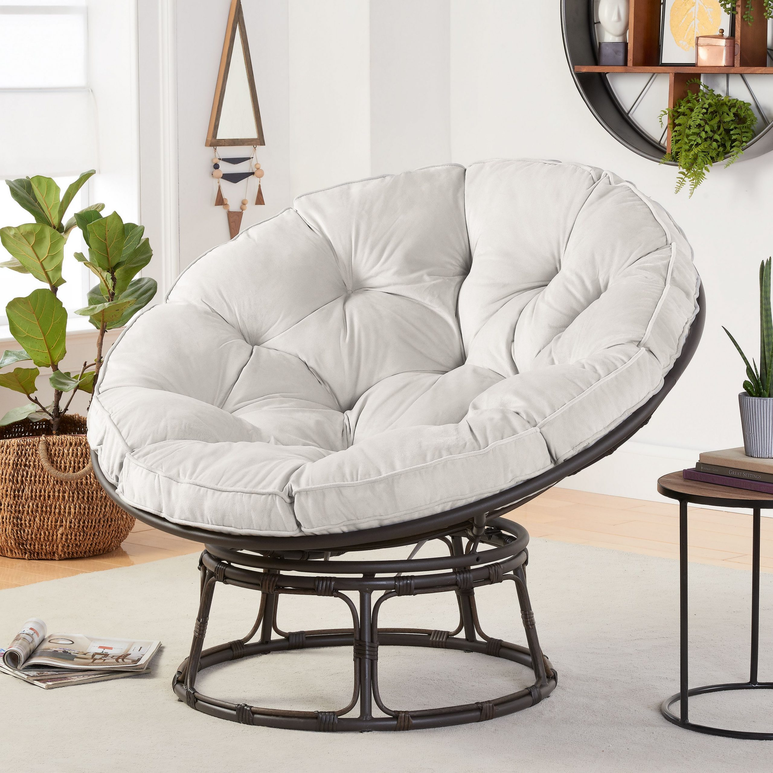 Better Homes & Gardens Papasan Chair With Fabric Cushion, Pumice Gray – Walmart Regarding Decker Papasan Chairs (View 2 of 15)