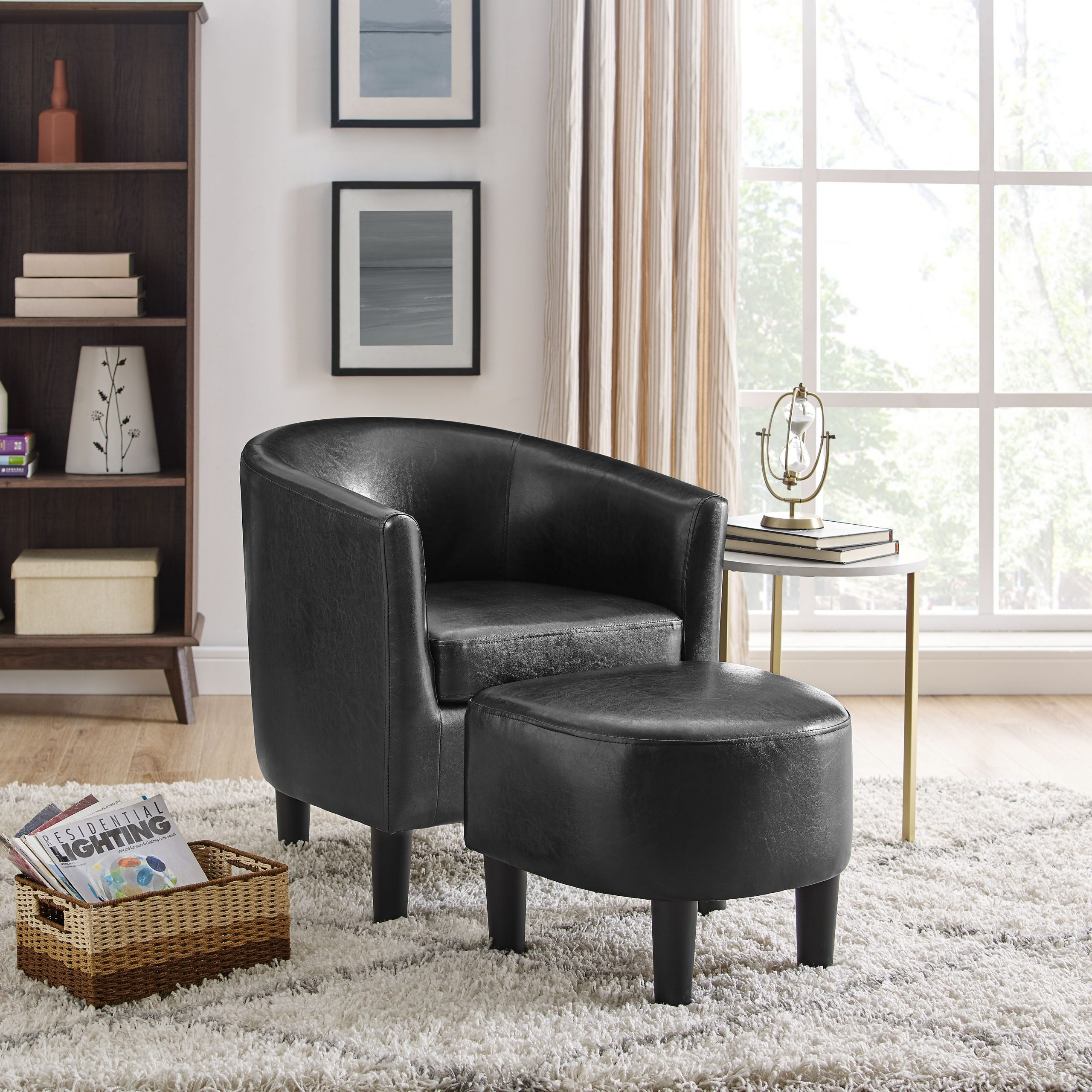 Black Chairs | Wayfair Regarding Lucea Faux Leather Barrel Chairs And Ottoman (View 9 of 15)