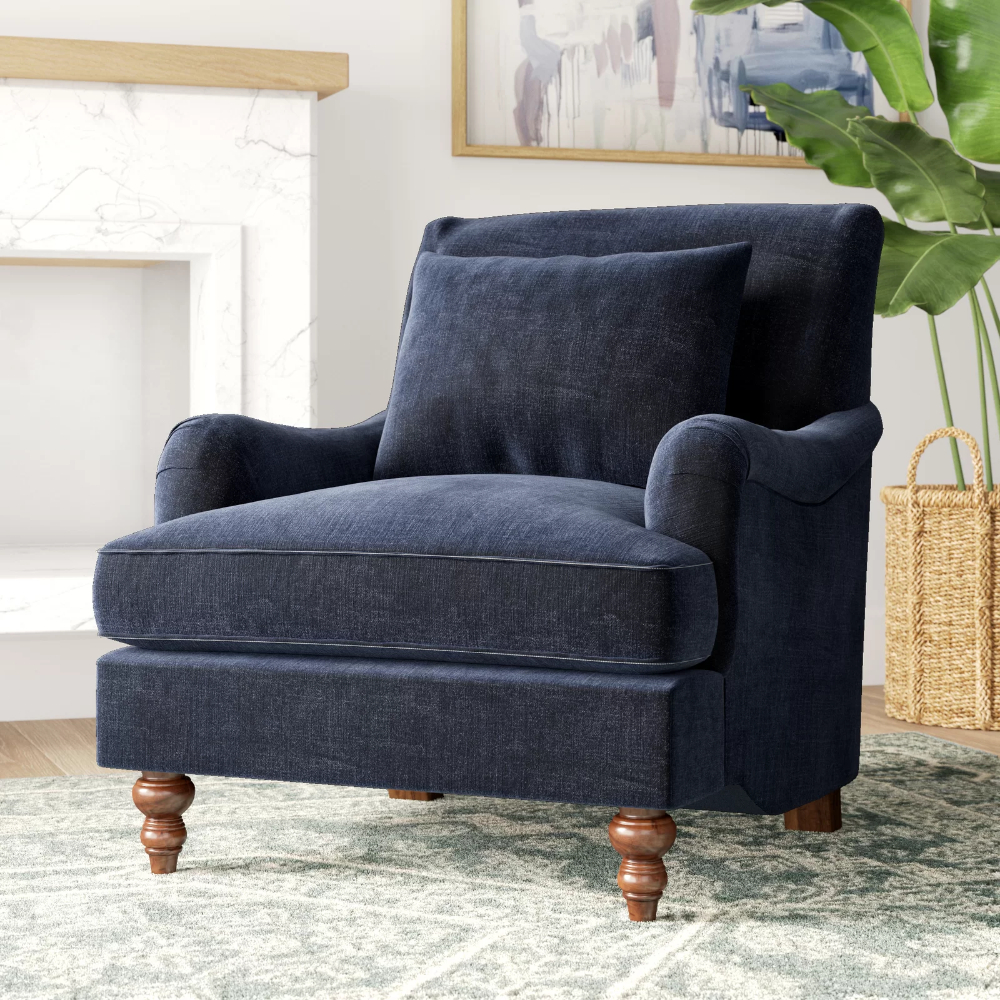 Blaise Armchair | Blue Velvet Chairs, Armchair, Velvet Chair Intended For Hutchinsen Polyester Blend Armchairs (View 2 of 15)
