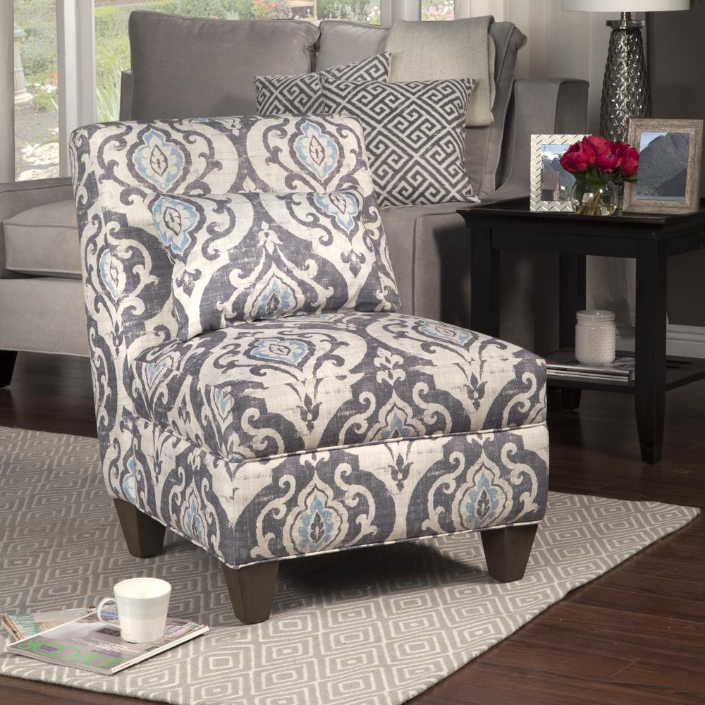 Blue And Cream Slate Large Accent Chair With Pillow, Blue/Ivory – Home Depot In Waterton Wingback Chairs (View 14 of 15)