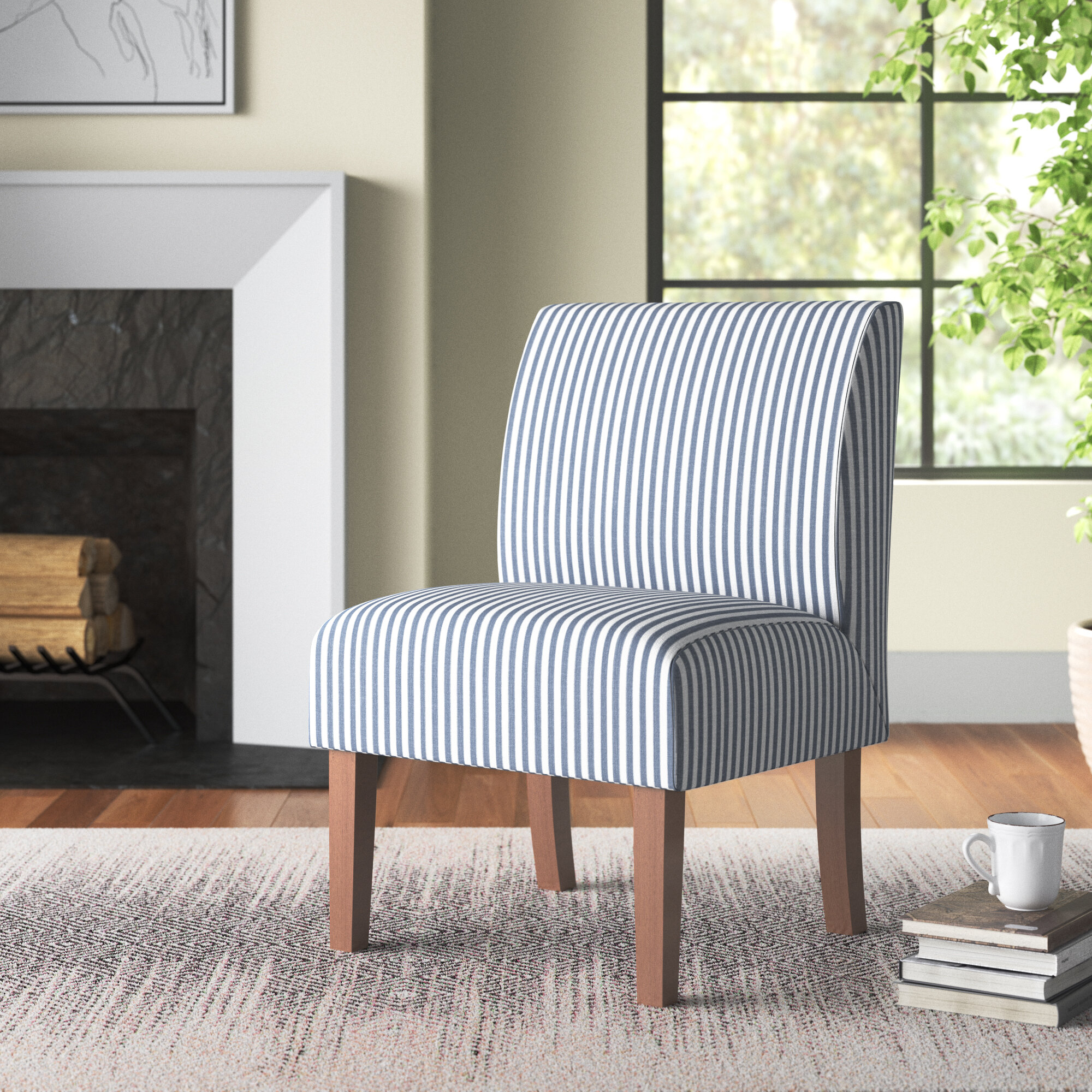 Blue Striped Accent Chairs You'Ll Love In 2021 | Wayfair For Bethine Polyester Armchairs (Set Of 2) (View 9 of 15)