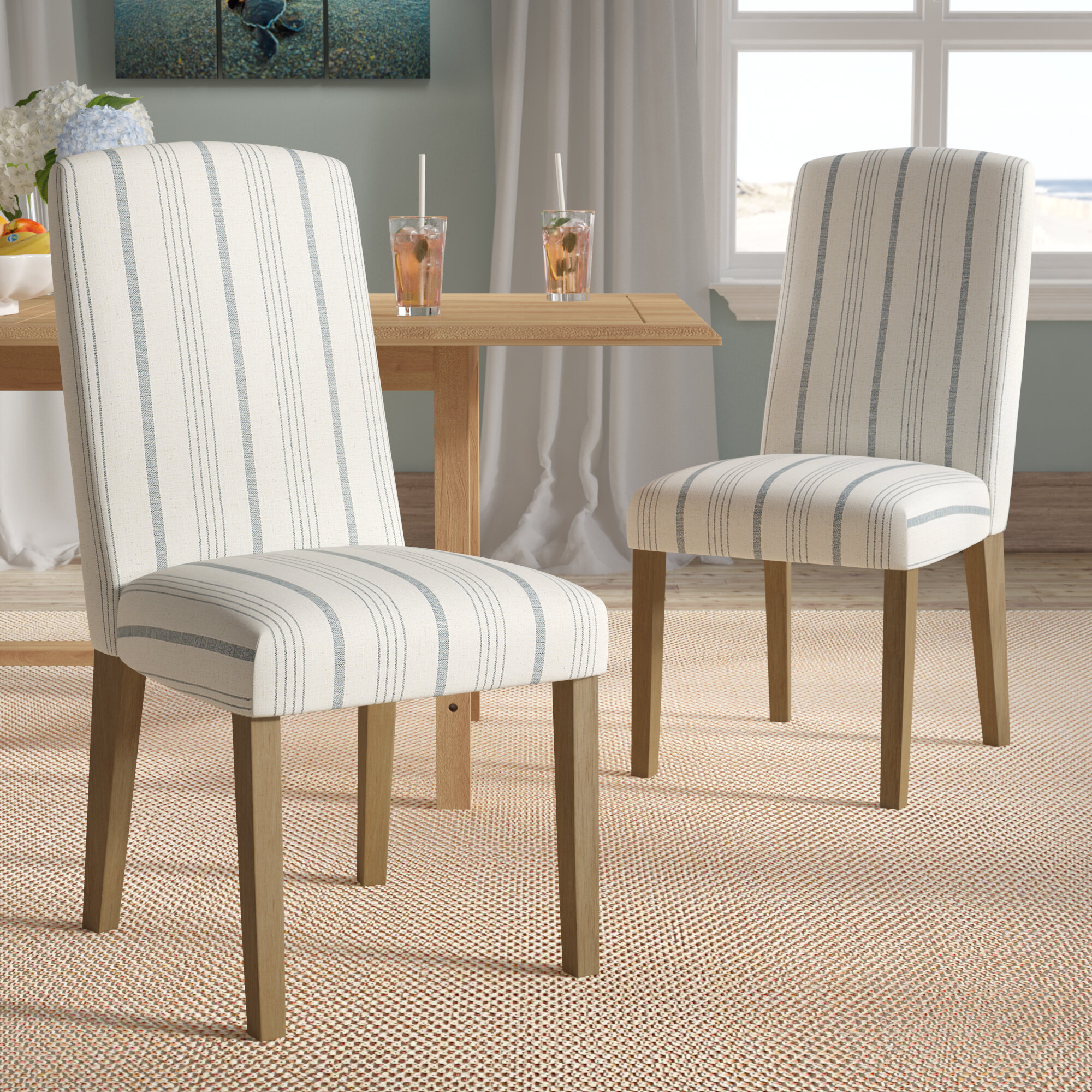 Featured Image of Bob Stripe Upholstered Dining Chairs (Set Of 2)