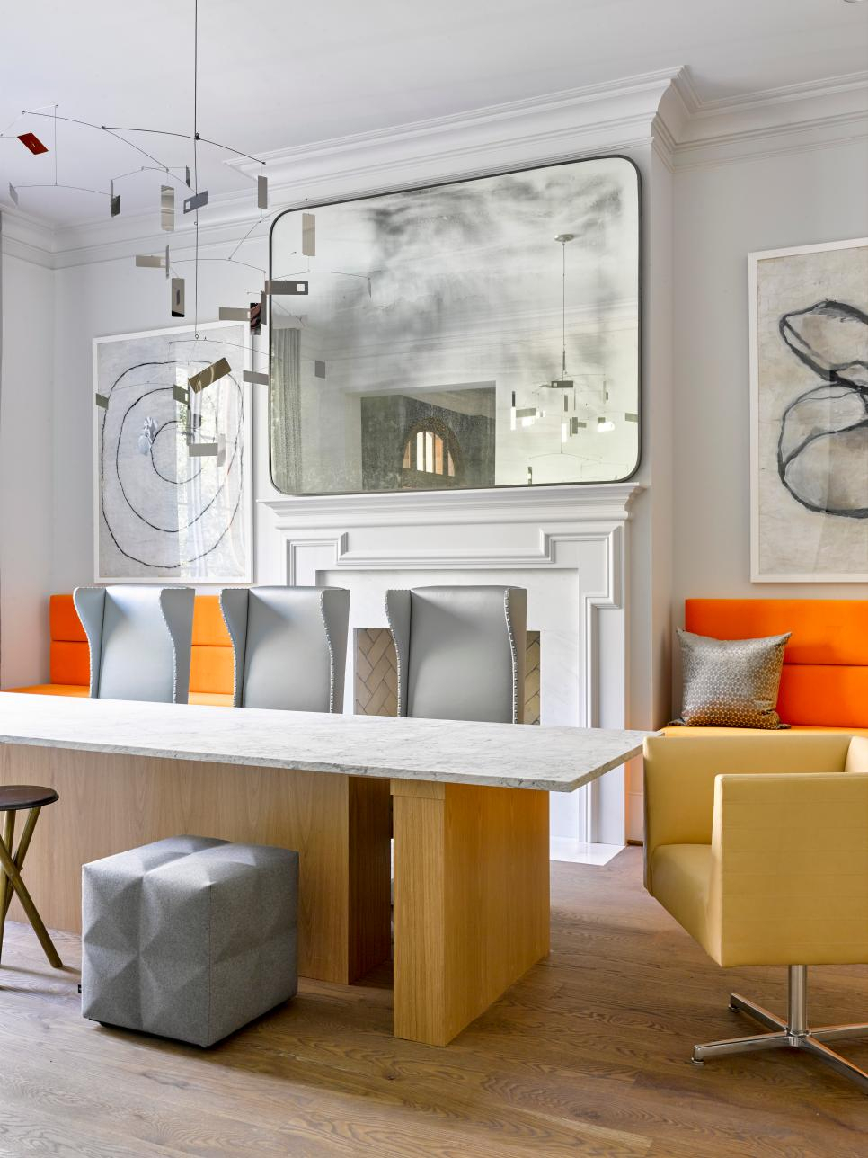 Bold White, Orange And Gray Designer Dining Room | Hgtv With Saige Wingback Chairs (View 12 of 15)
