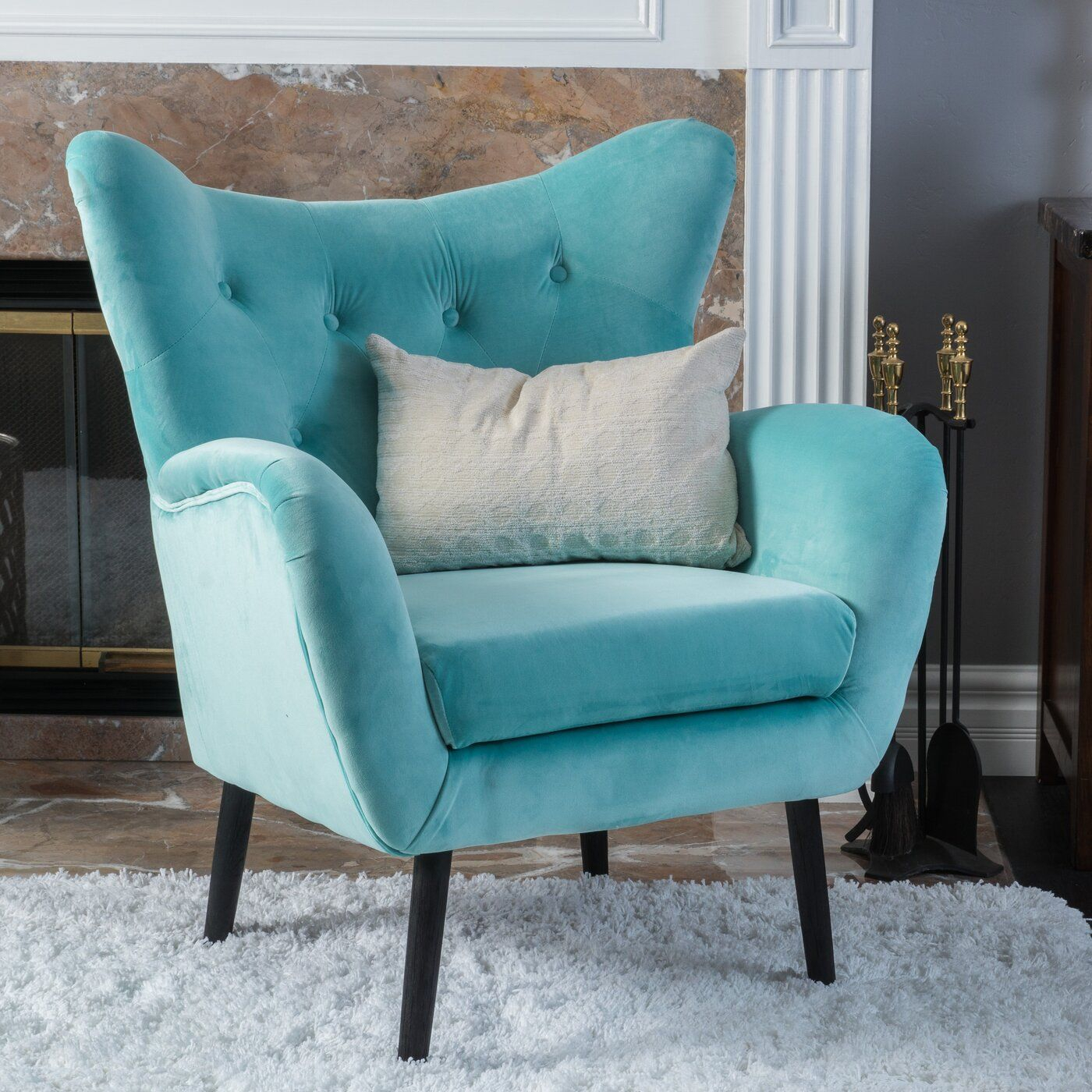 Bouck 21'' Wingback Chair | Blue Velvet Armchair, Noble Throughout Bouck Wingback Chairs (View 5 of 15)