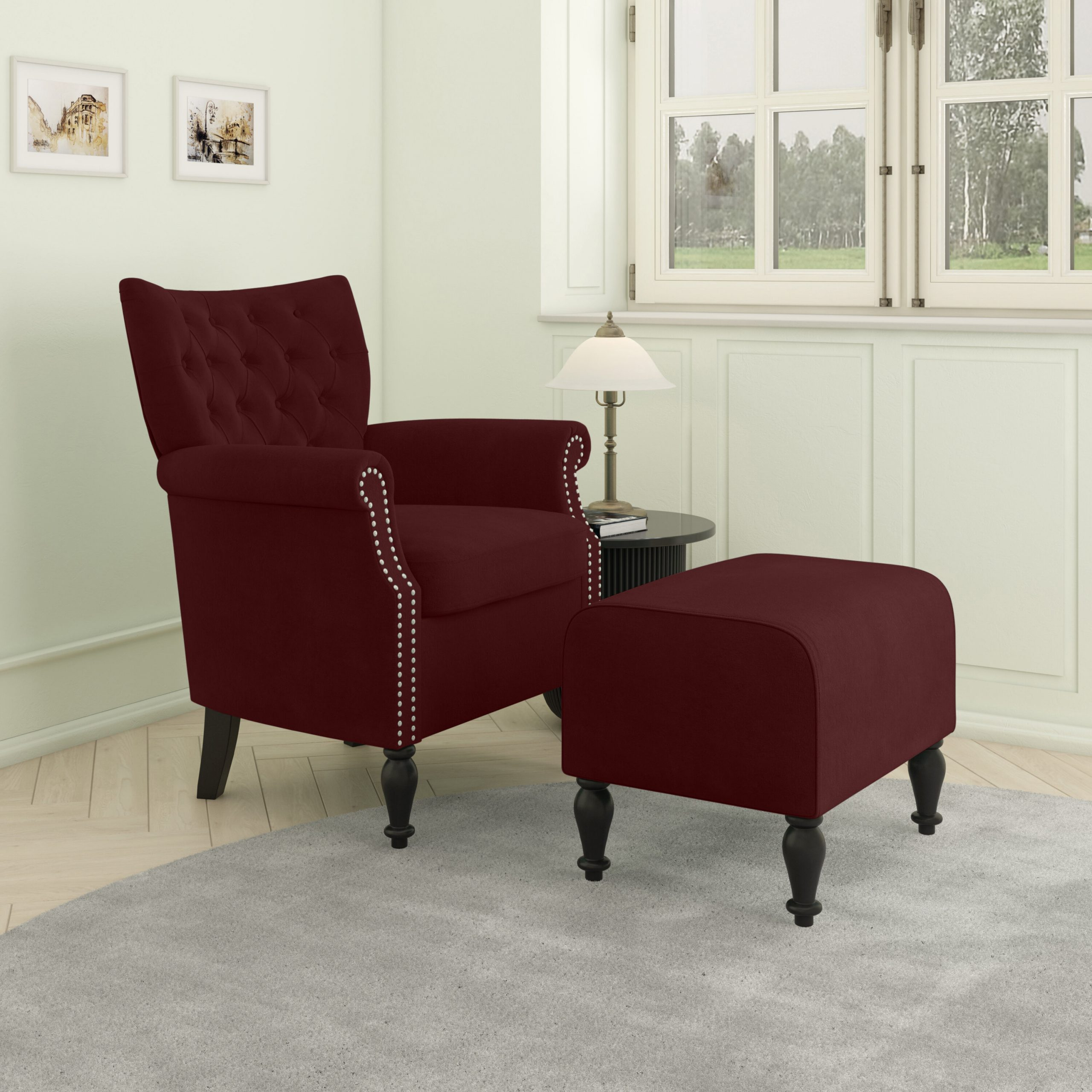 Brassfield Armchair And Ottoman Regarding Akimitsu Barrel Chair And Ottoman Sets (View 3 of 15)