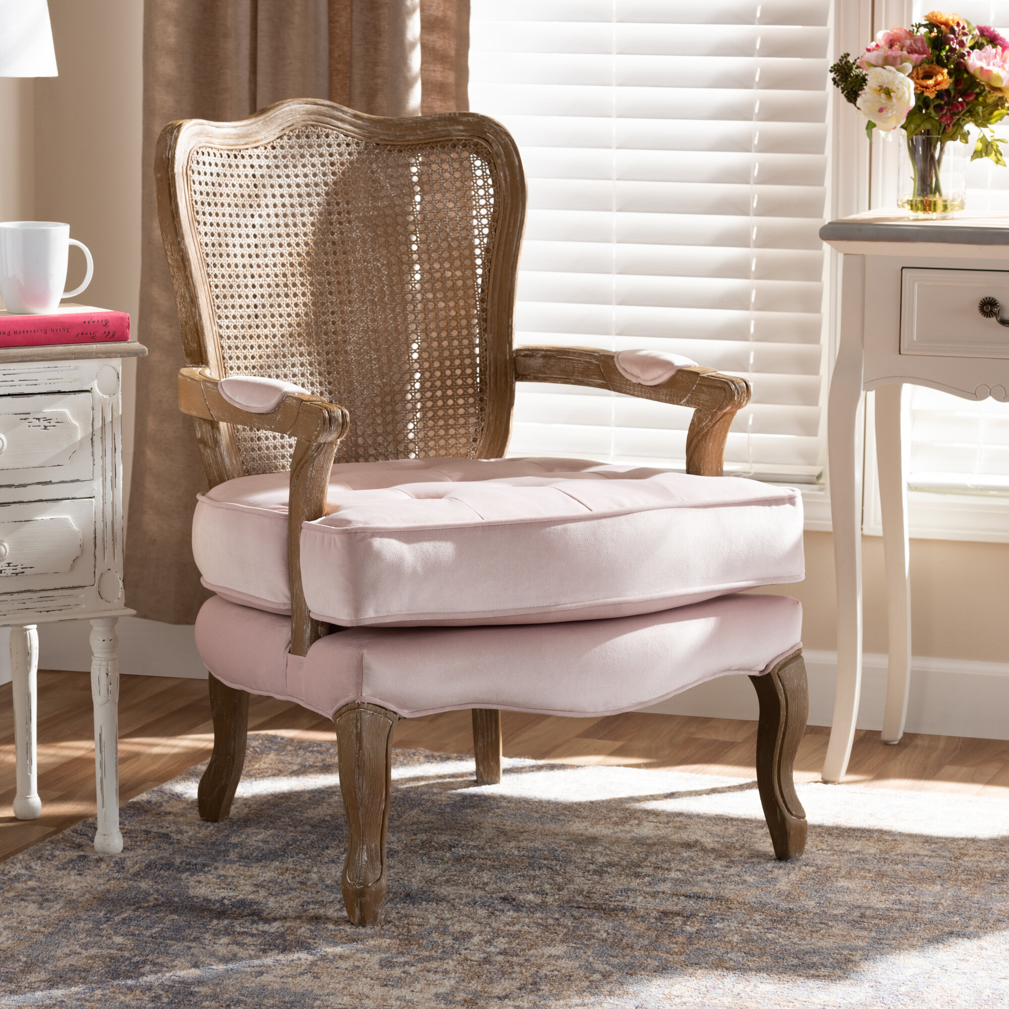 Briony Traditional French Provincial Velvet Fabric Upholstered Armchair Throughout Didonato Tufted Velvet Armchairs (View 10 of 15)
