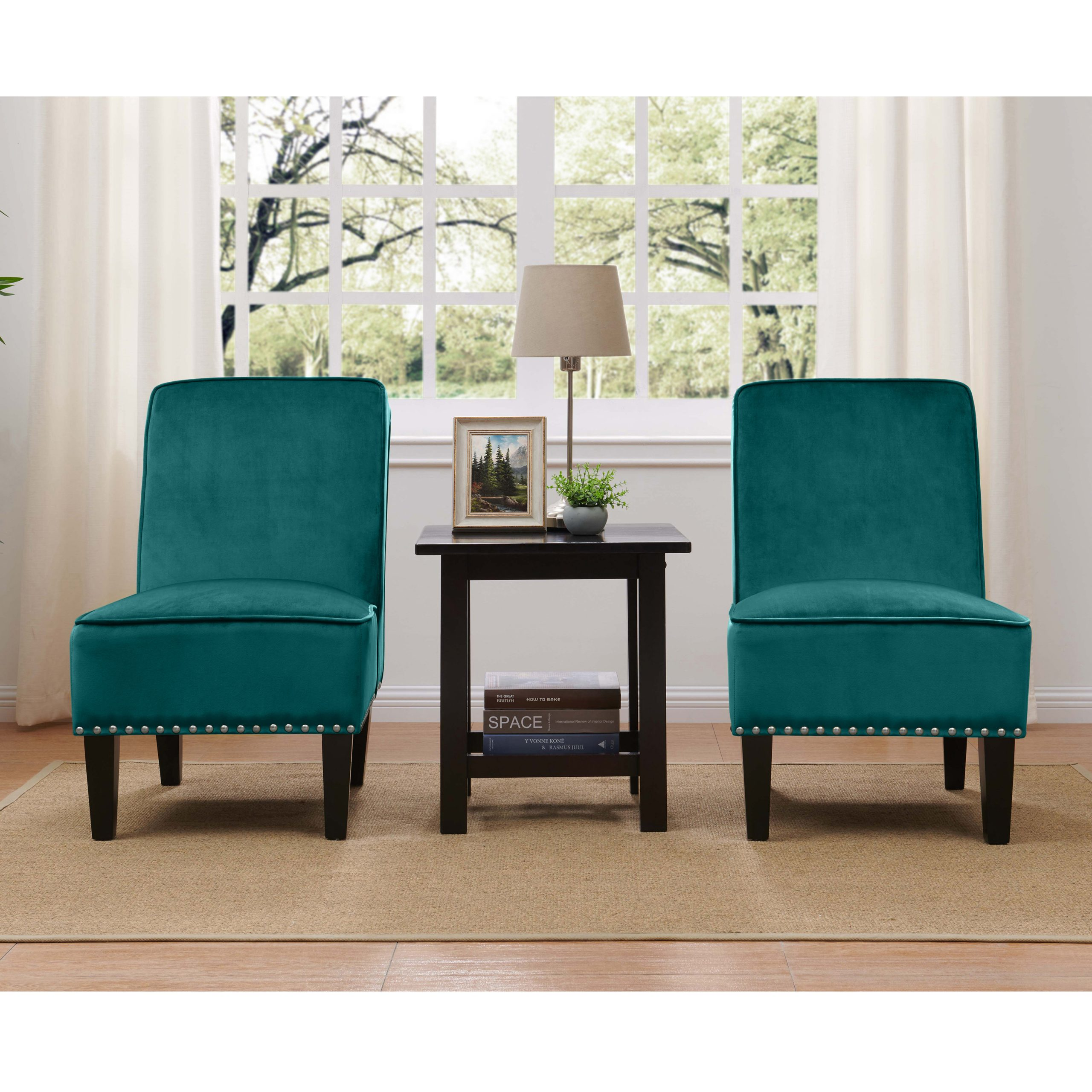 Brodee Armless Chair In Velvet, Multiple Colors (Set Of 2) – Walmart With Goodyear Slipper Chairs (View 14 of 15)