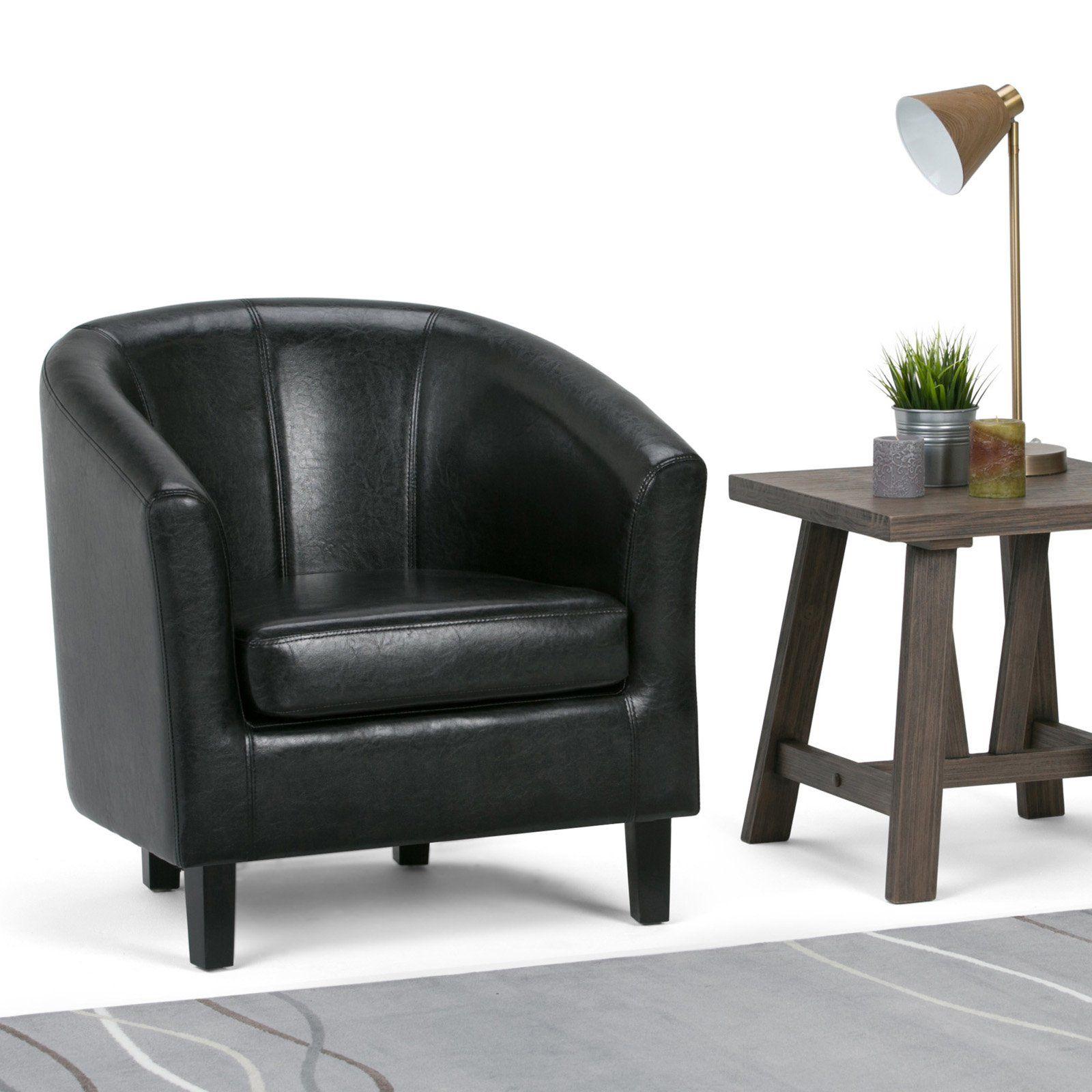 Brooklyn + Max Hudson Faux Leather Barrel Chair In 2020 Within Liam Faux Leather Barrel Chairs (View 10 of 15)