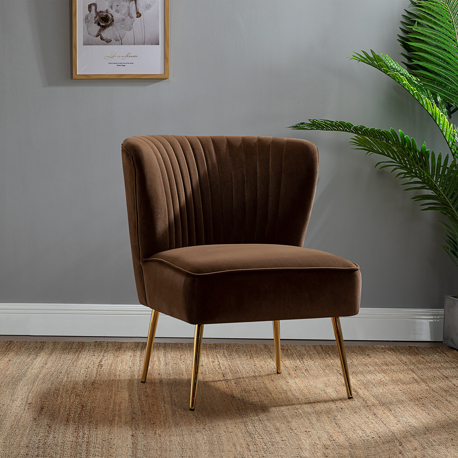 Brown Metal Accent Chairs You'Ll Love In 2021 | Wayfair Inside Broadus Genuine Leather Suede Side Chairs (View 12 of 15)