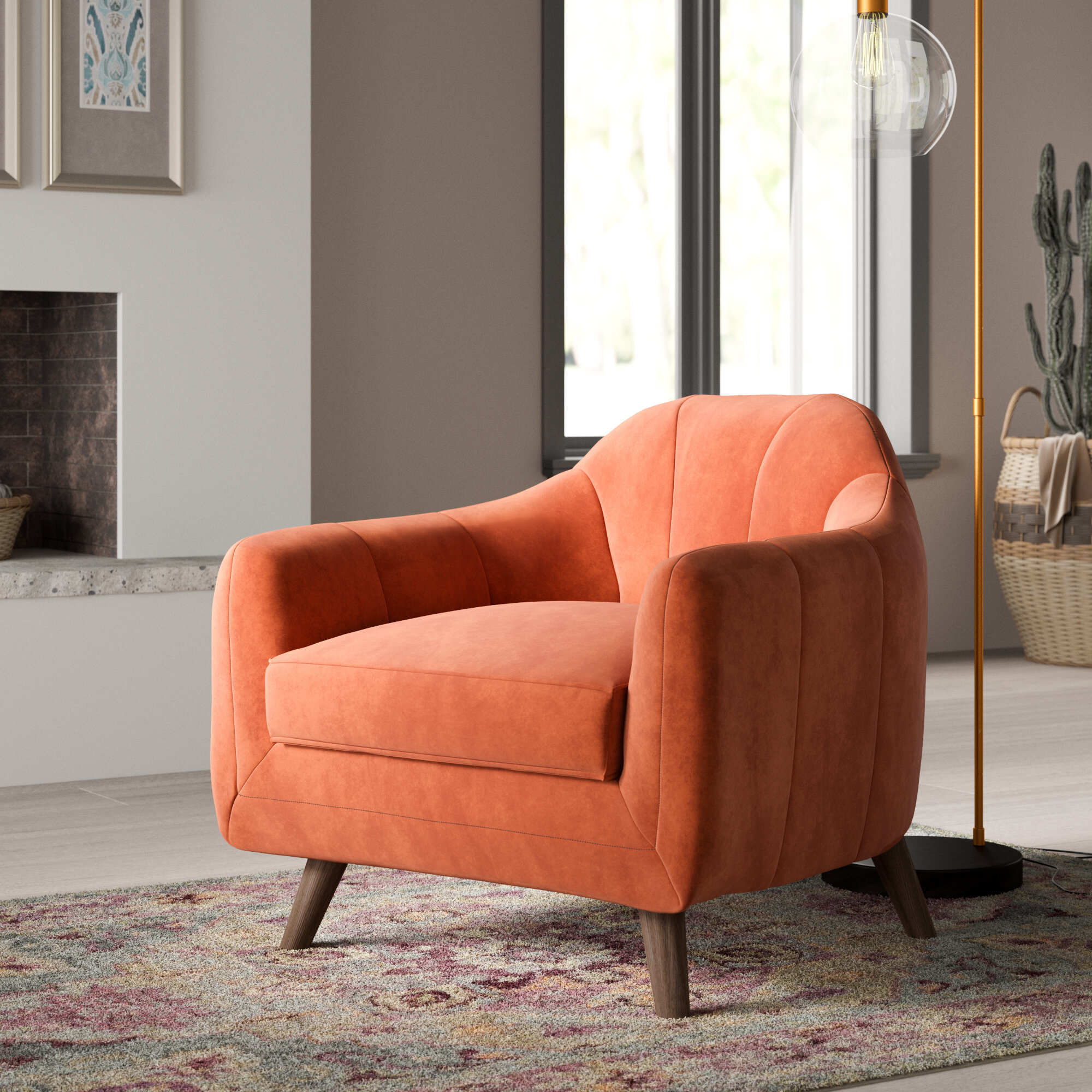 Brown Orange Accent Chairs You'Ll Love In 2021 | Wayfair Regarding Artressia Barrel Chairs (View 6 of 15)