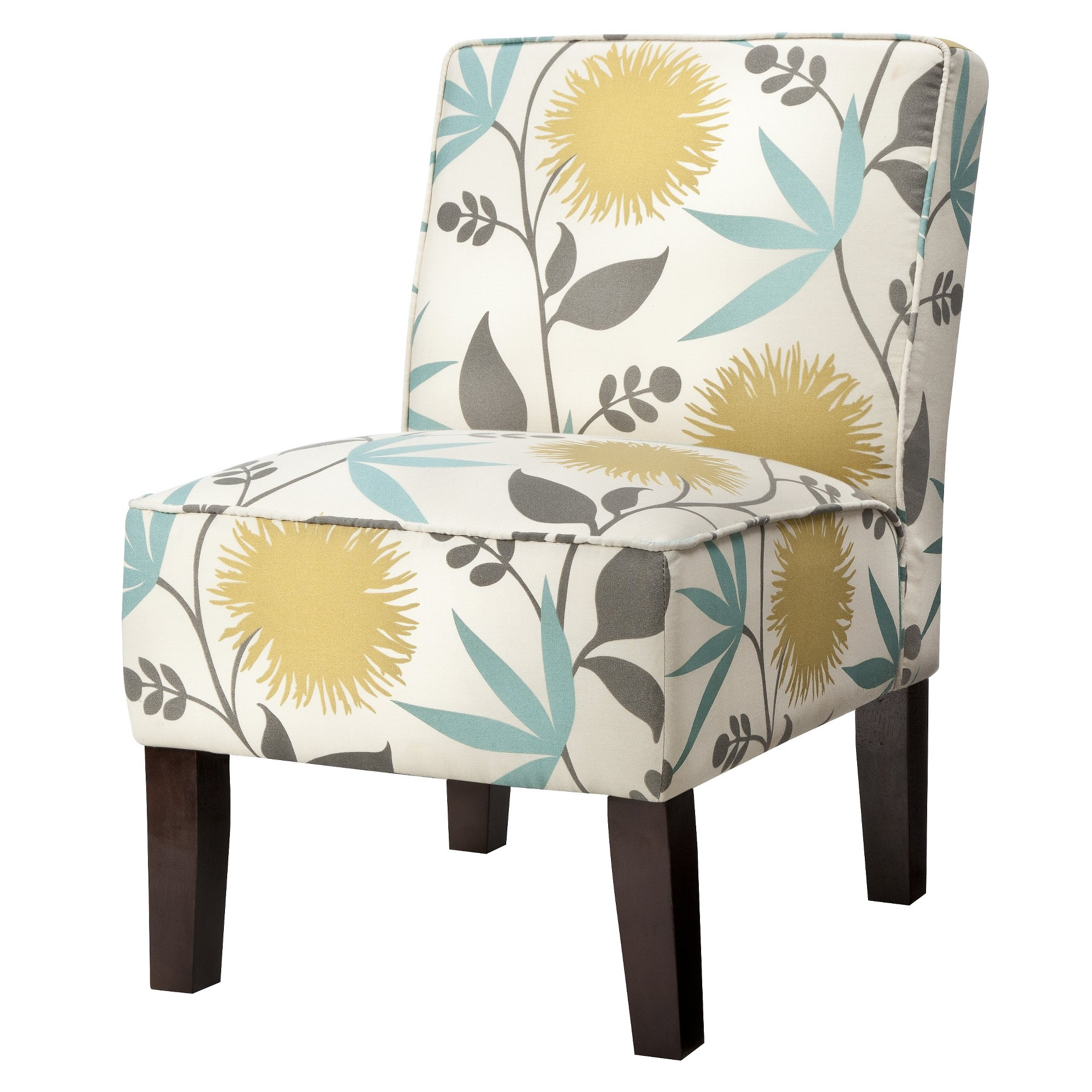 Burke Accent Print Slipper Chair – Polly Aegean Regarding Armless Upholstered Slipper Chairs (View 3 of 15)