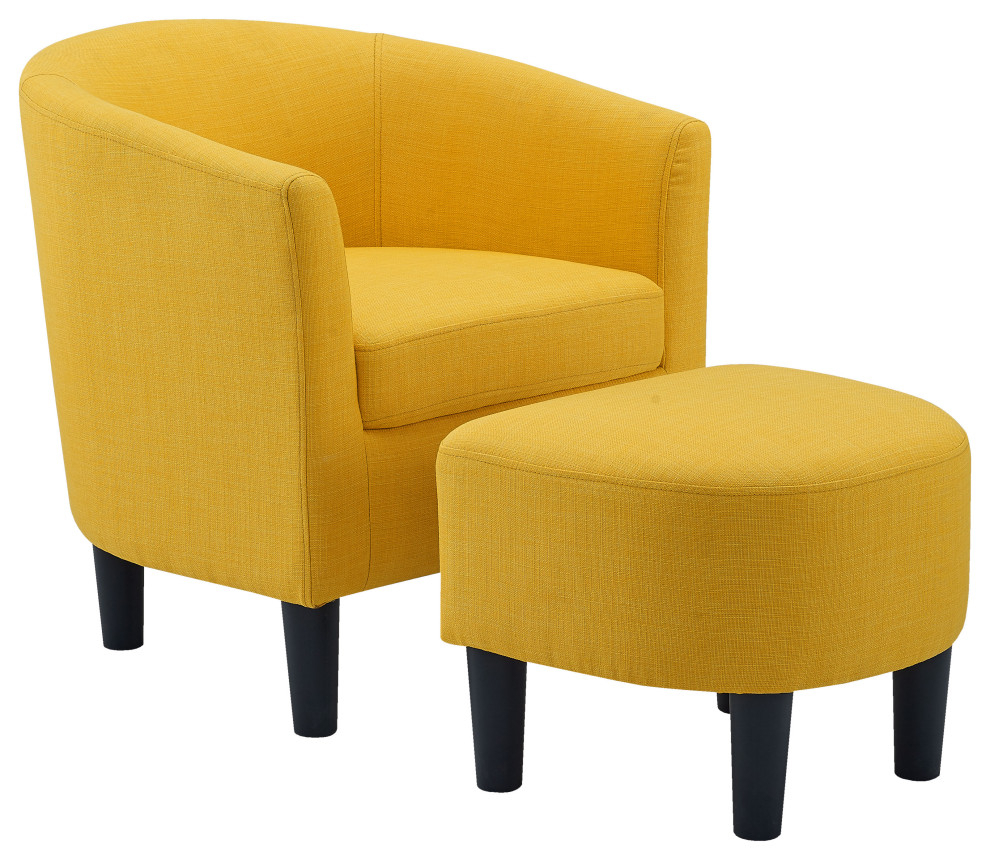 Camilla Fabric Barrel Chair With Ottoman, Yellow Regarding Jazouli Linen Barrel Chairs And Ottoman (View 10 of 15)
