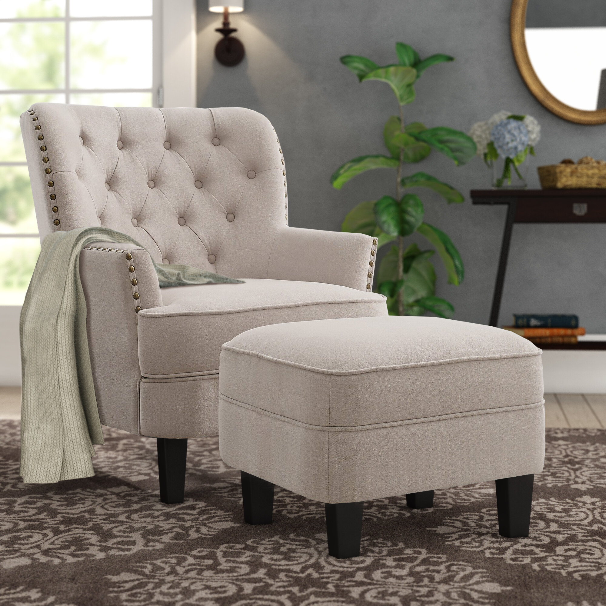 "Canora Grey Michalak Cheswood 23"" Armchair And Ottoman In Jayde Armchairs (View 15 of 15)"