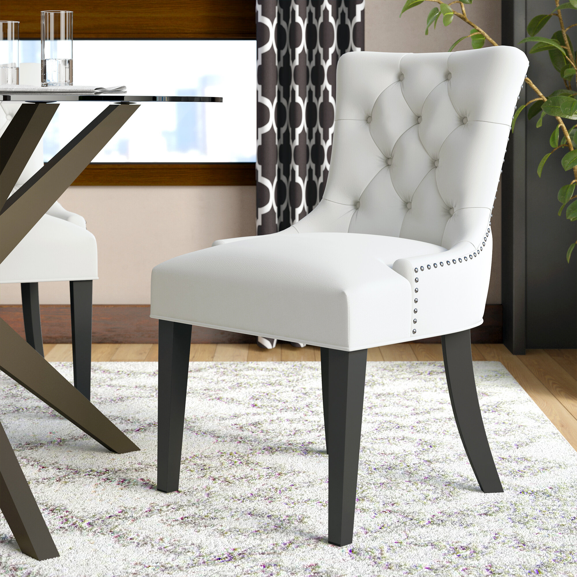 Carlton Tufted Upholstered Dining Chair With Carlton Wood Leg Upholstered Dining Chairs (View 5 of 15)