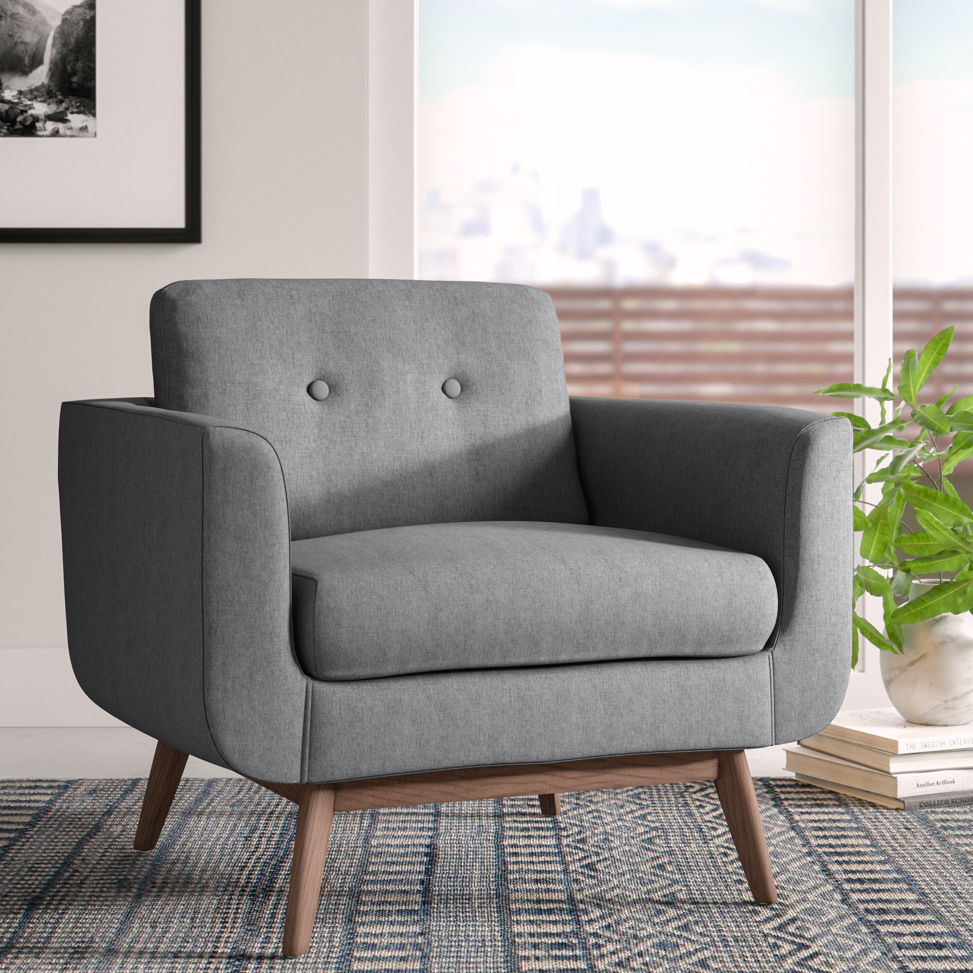 Cheryl Armchair & Reviews | Allmodern Throughout Ronald Polyester Blend Armchairs (View 8 of 15)
