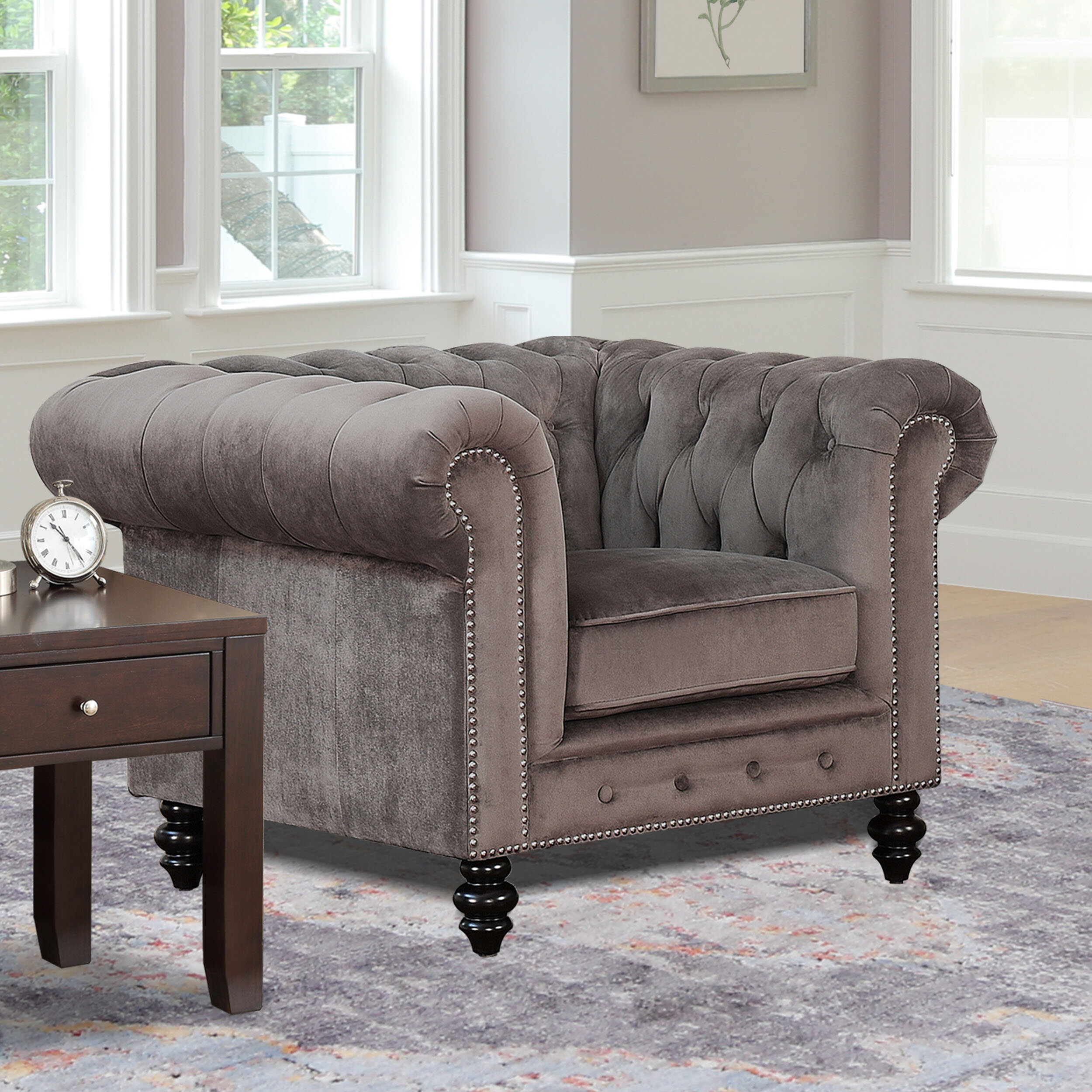 Chesterfield Espresso Wood Accent Chairs You'Ll Love In 2021 Pertaining To Kjellfrid Chesterfield Chairs (View 4 of 15)
