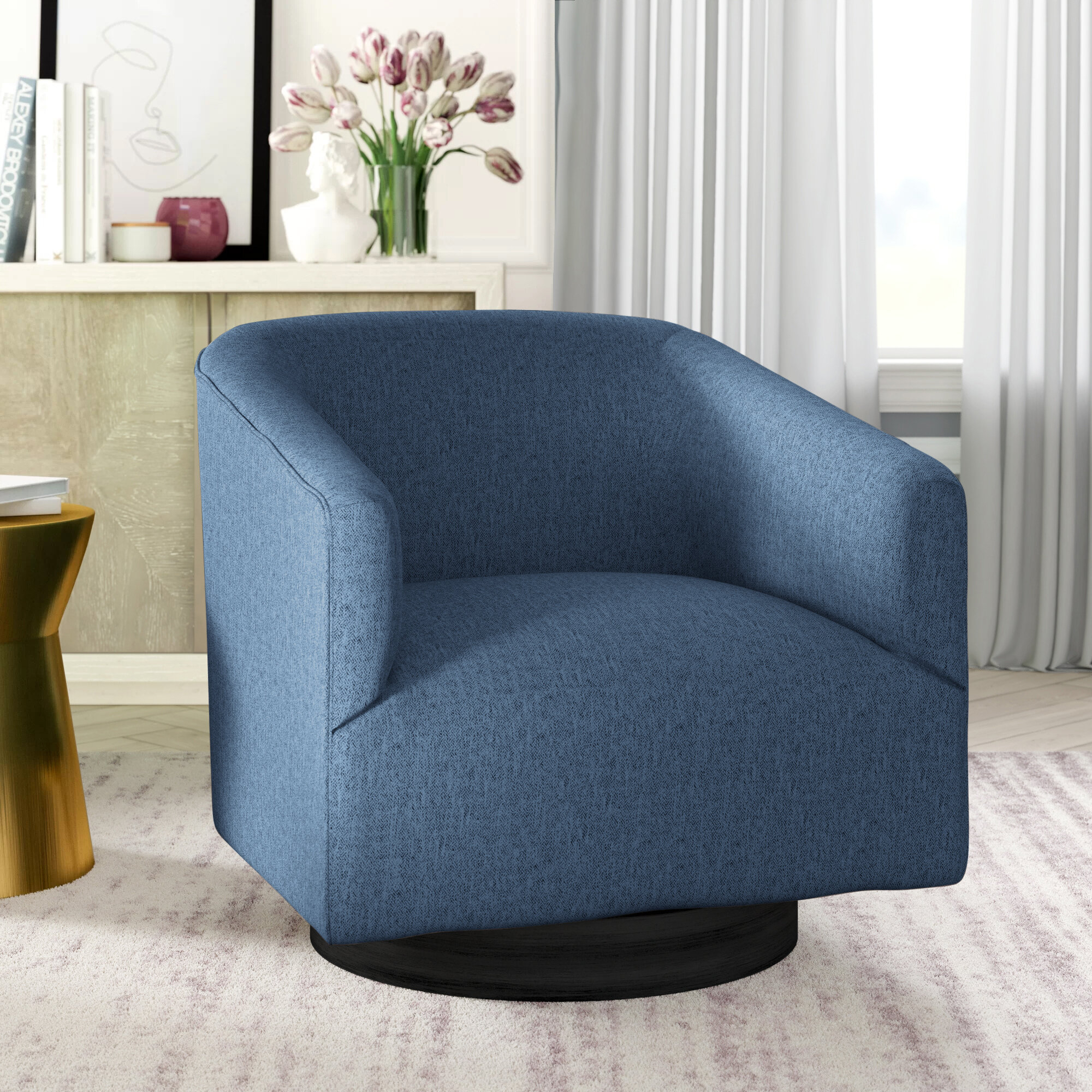 Clarkson Swivel Barrel Chair For Danow Polyester Barrel Chairs (View 15 of 15)