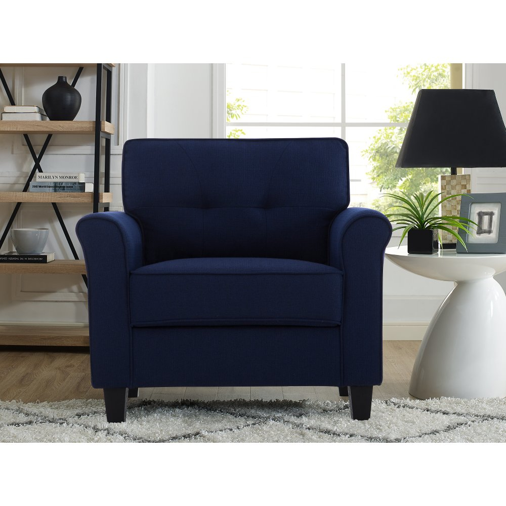Classic Contemporary Navy Blue Chair – Hanson | Rc Willey Pertaining To Belz Tufted Polyester Armchairs (View 13 of 15)