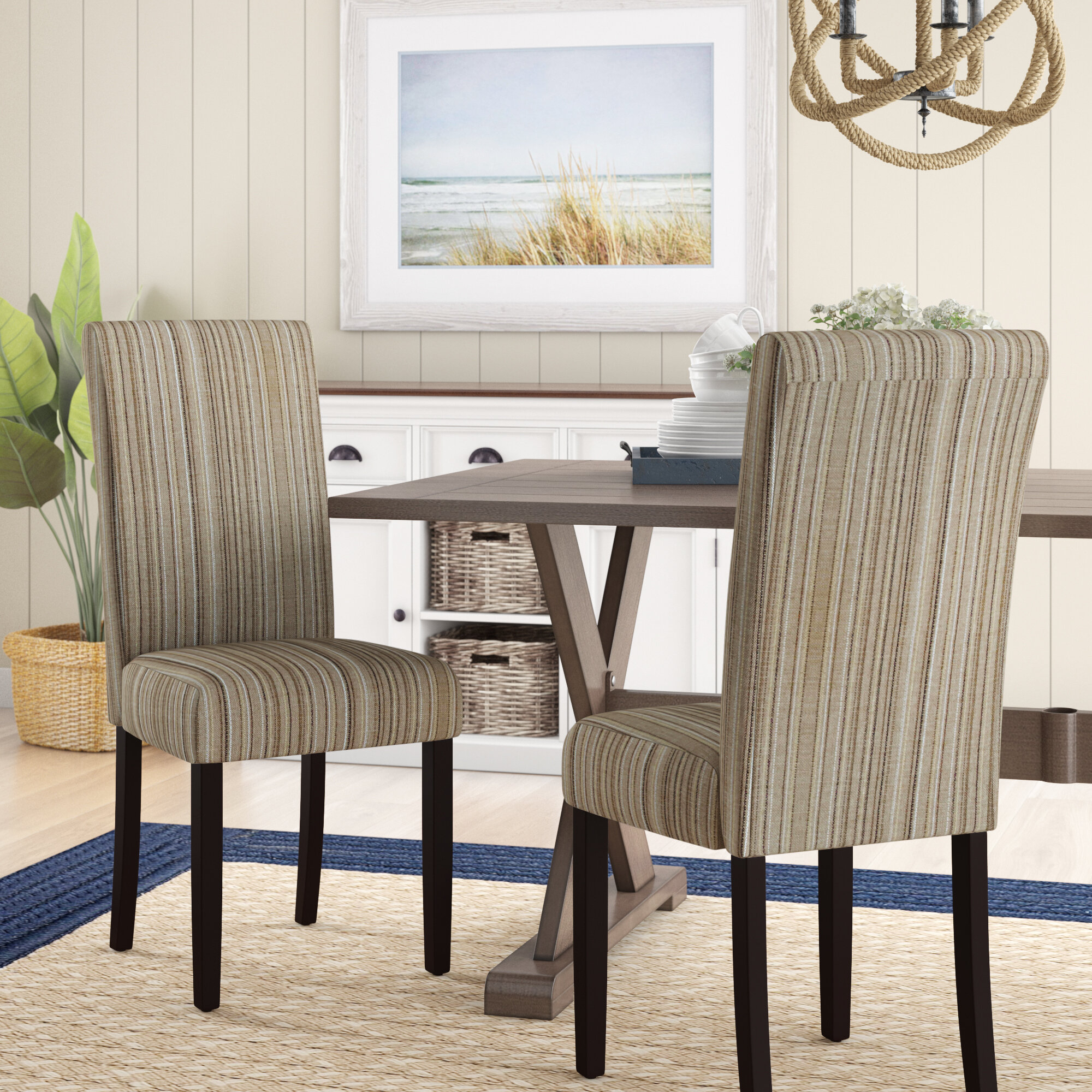Coastal Upholstered Kitchen & Dining Chairs You'Ll Love In Within Bob Stripe Upholstered Dining Chairs (Set Of 2) (View 4 of 15)