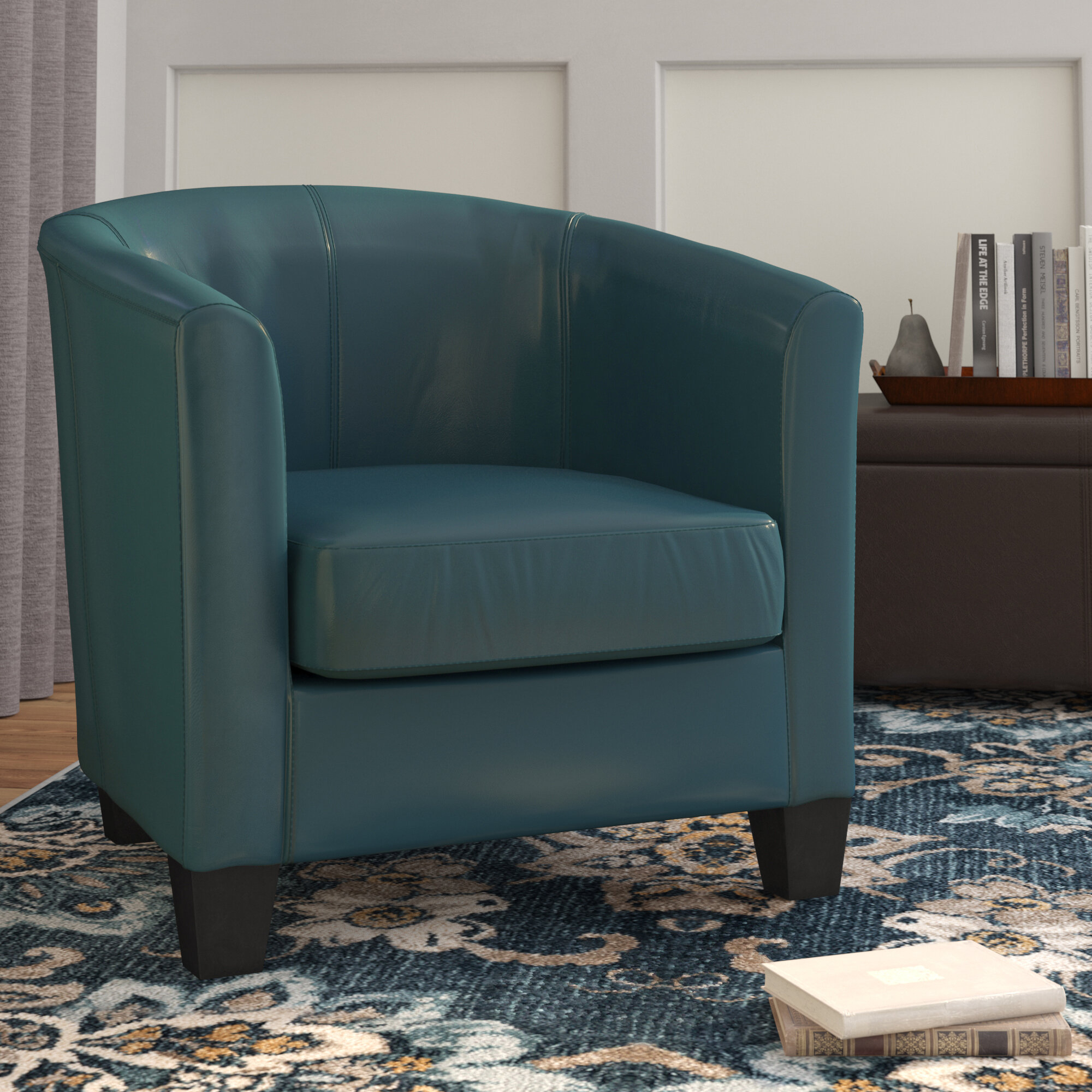 """Colden 30"""" W Faux Leather Barrel Chair With Filton Barrel Chairs (View 12 of 15)"""