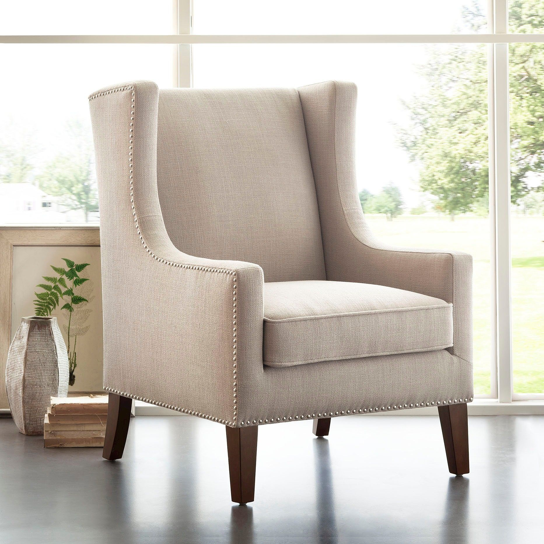 Colette Wing Chair Linen | Wingback Chair, Linen Wingback Intended For Galesville Tufted Polyester Wingback Chairs (View 7 of 15)