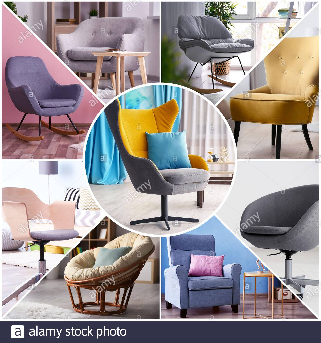 Collage With Stylish And Comfortable Armchairs In Different With Live It Cozy Armchairs (View 13 of 15)