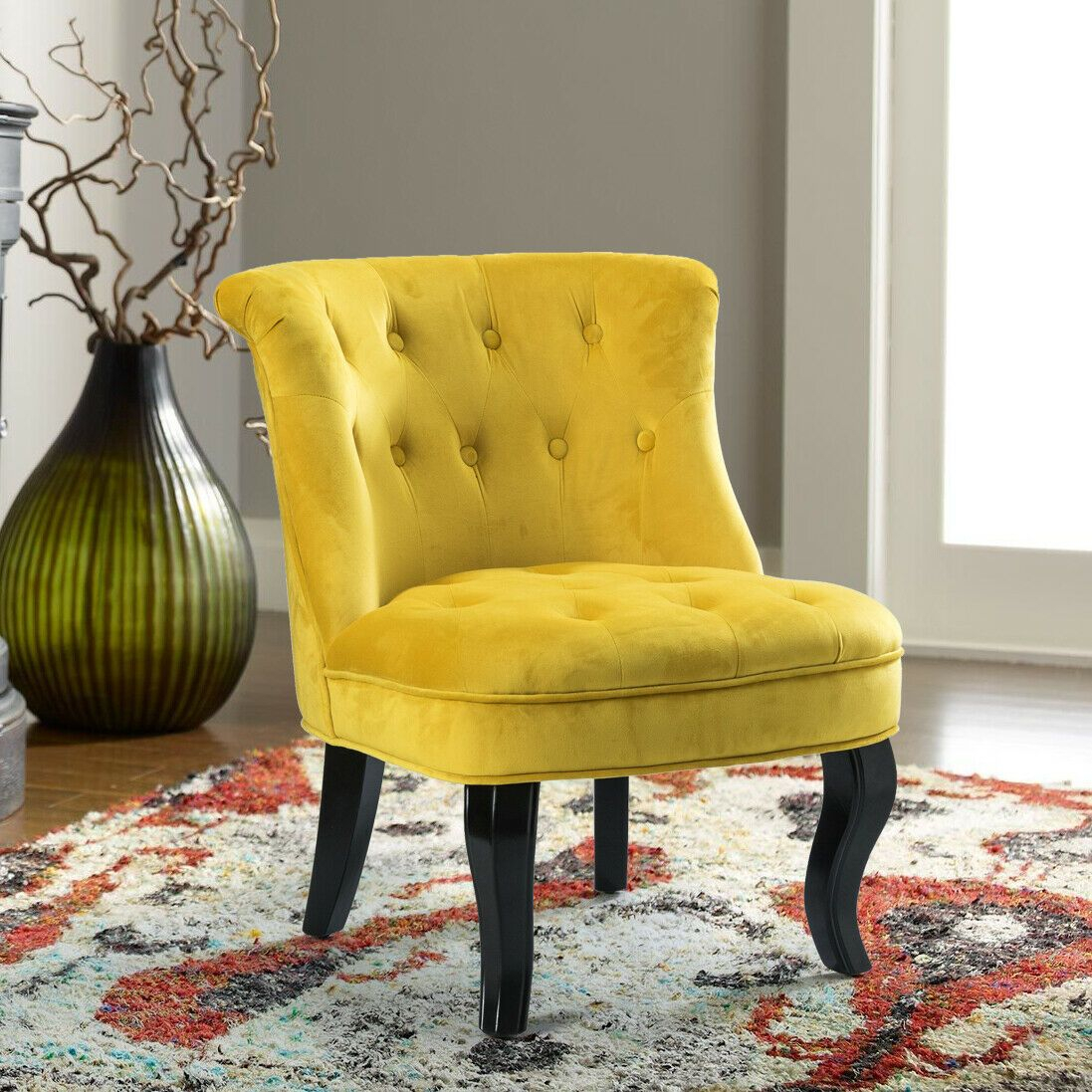 Colorful Velvet Armless Accent Chair With Black Birch Wood Pertaining To Didonato Tufted Velvet Armchairs (View 14 of 15)