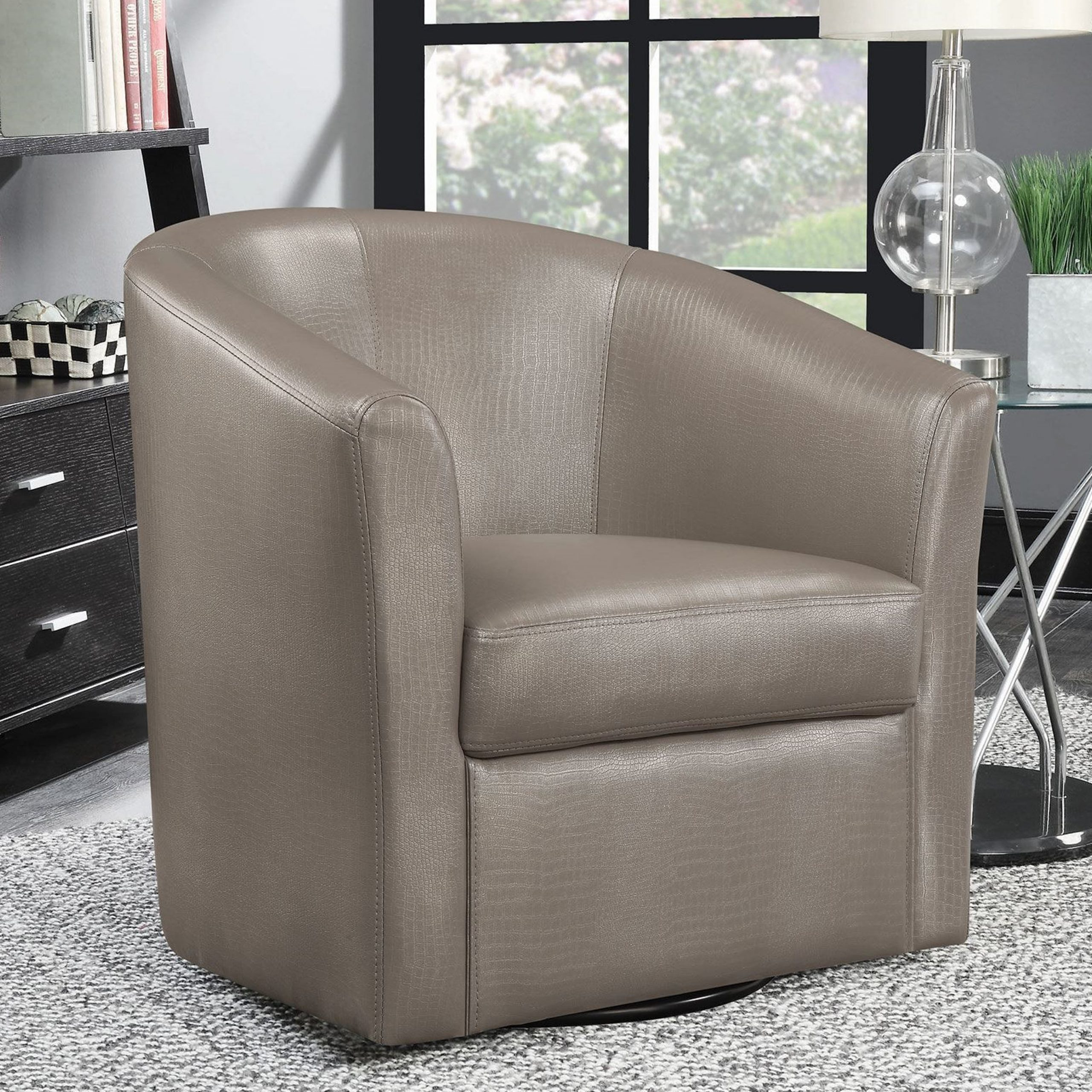 Contemporary Living Room Swivel Barrel Style Accent Chair With Faux Leather Barrel Chairs (View 11 of 15)