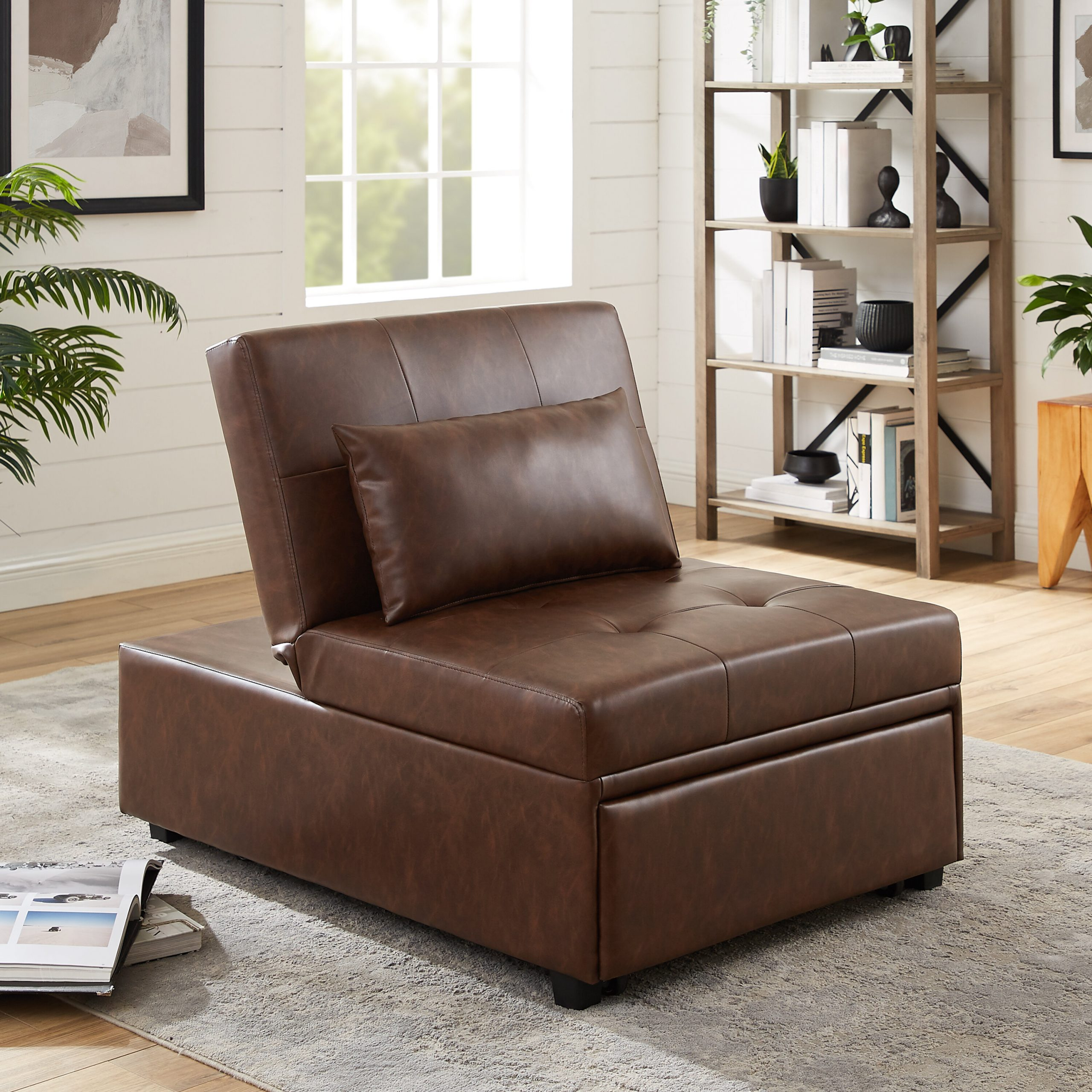 Convertible Solid Accent Chairs You'Ll Love In 2020 Pertaining To Perz Tufted Faux Leather Convertible Chairs (View 12 of 15)
