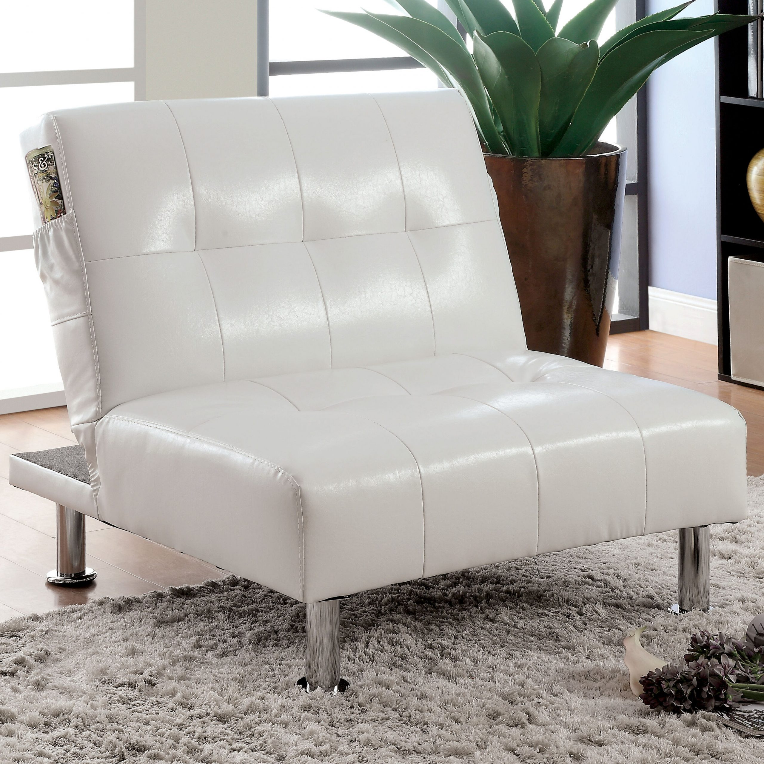 Convertible Solid Accent Chairs You'Ll Love In 2020 With Regard To Perz Tufted Faux Leather Convertible Chairs (View 6 of 15)