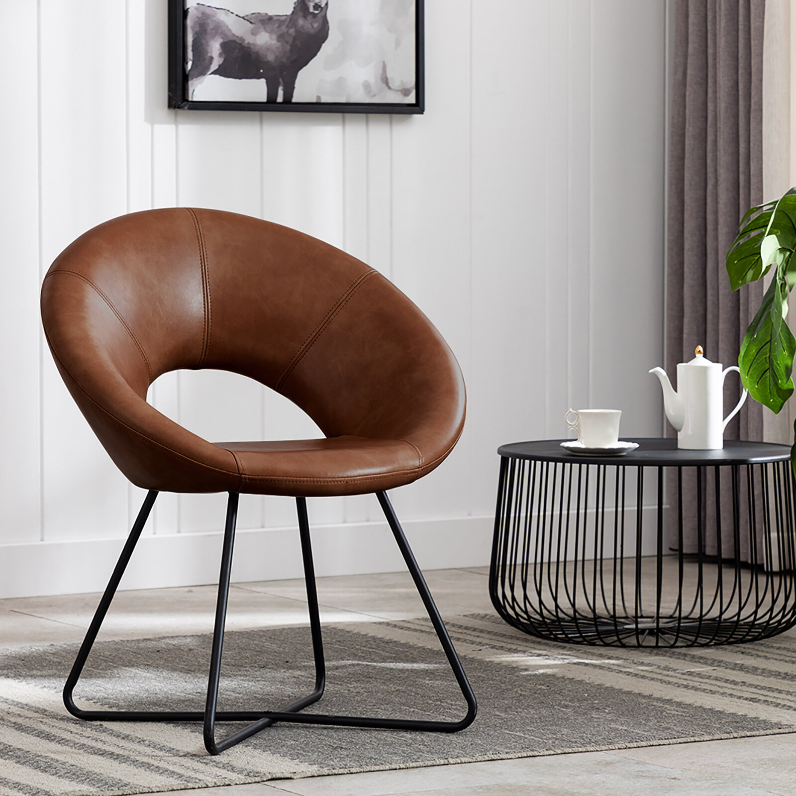 Featured Image of Coomer Faux Leather Barrel Chairs
