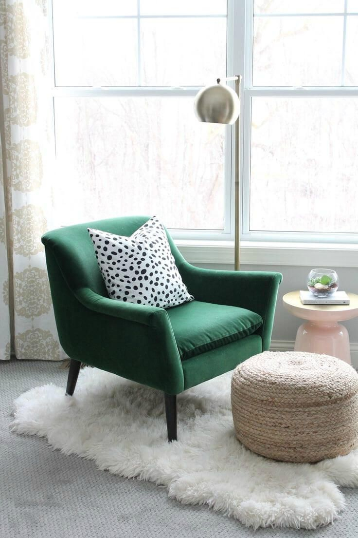 Cosy Reading Nook With Green Armchair Polka Dot Cushion And Pertaining To Dara Armchairs (View 15 of 15)