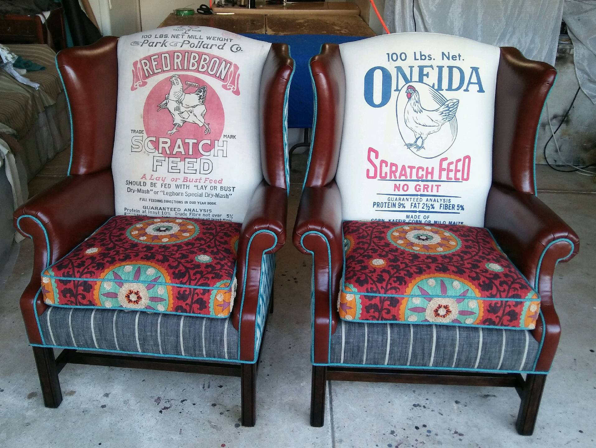 """Custom Order Vintage Farmhouse Wingback Chair """"Fiesta Farmhouse Wingback"""" Coordinating Pair Custom Created For You (View 14 of 15)"""
