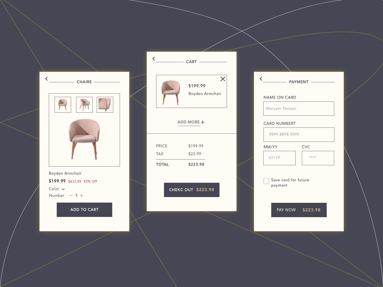 Daily Ui 002Maryam Tamawi On Dribbble Inside Boyden Armchairs (View 15 of 15)