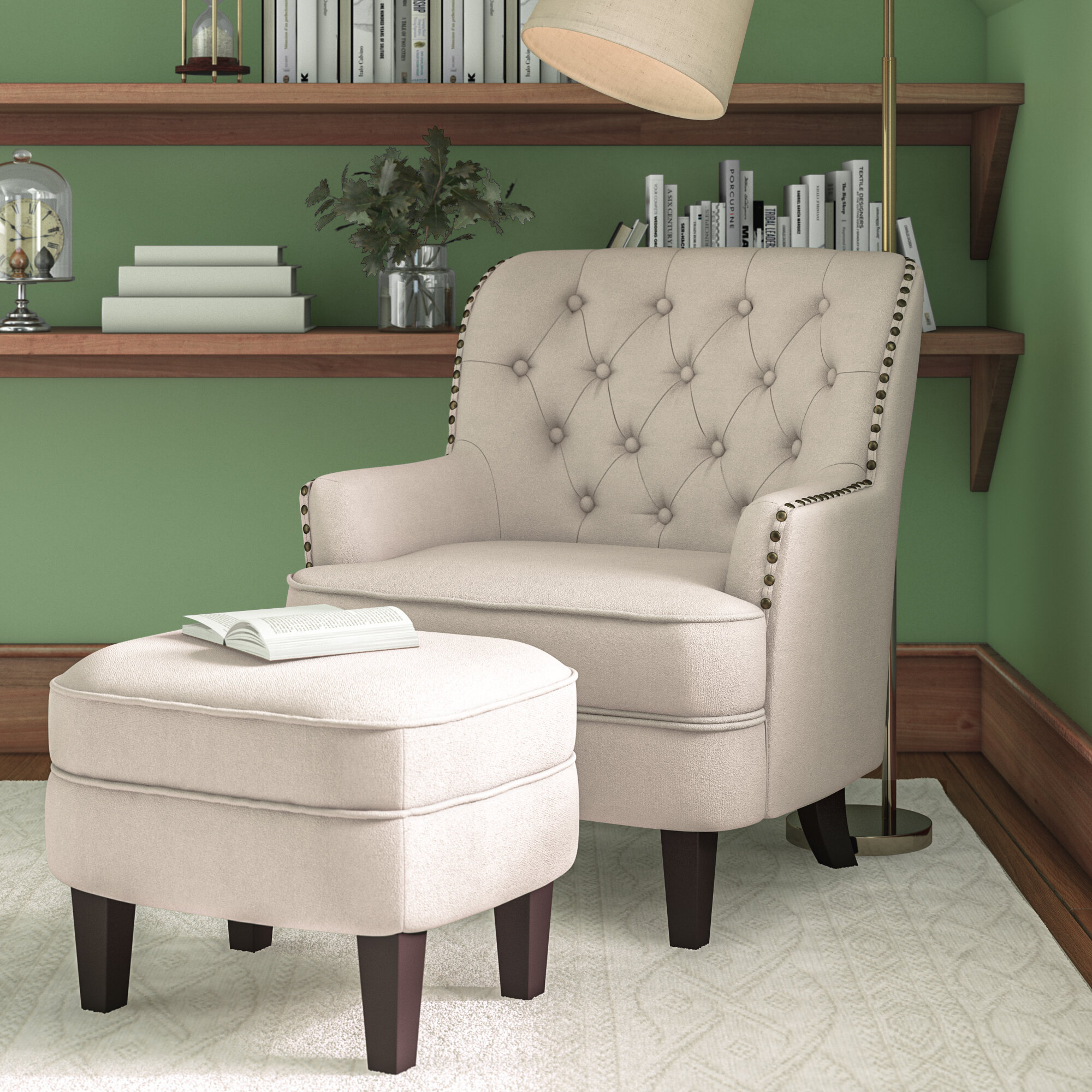 "Dario 22"" W Polyester Slipper Chair And Ottoman In Alexander Cotton Blend Armchairs And Ottoman (View 8 of 15)"