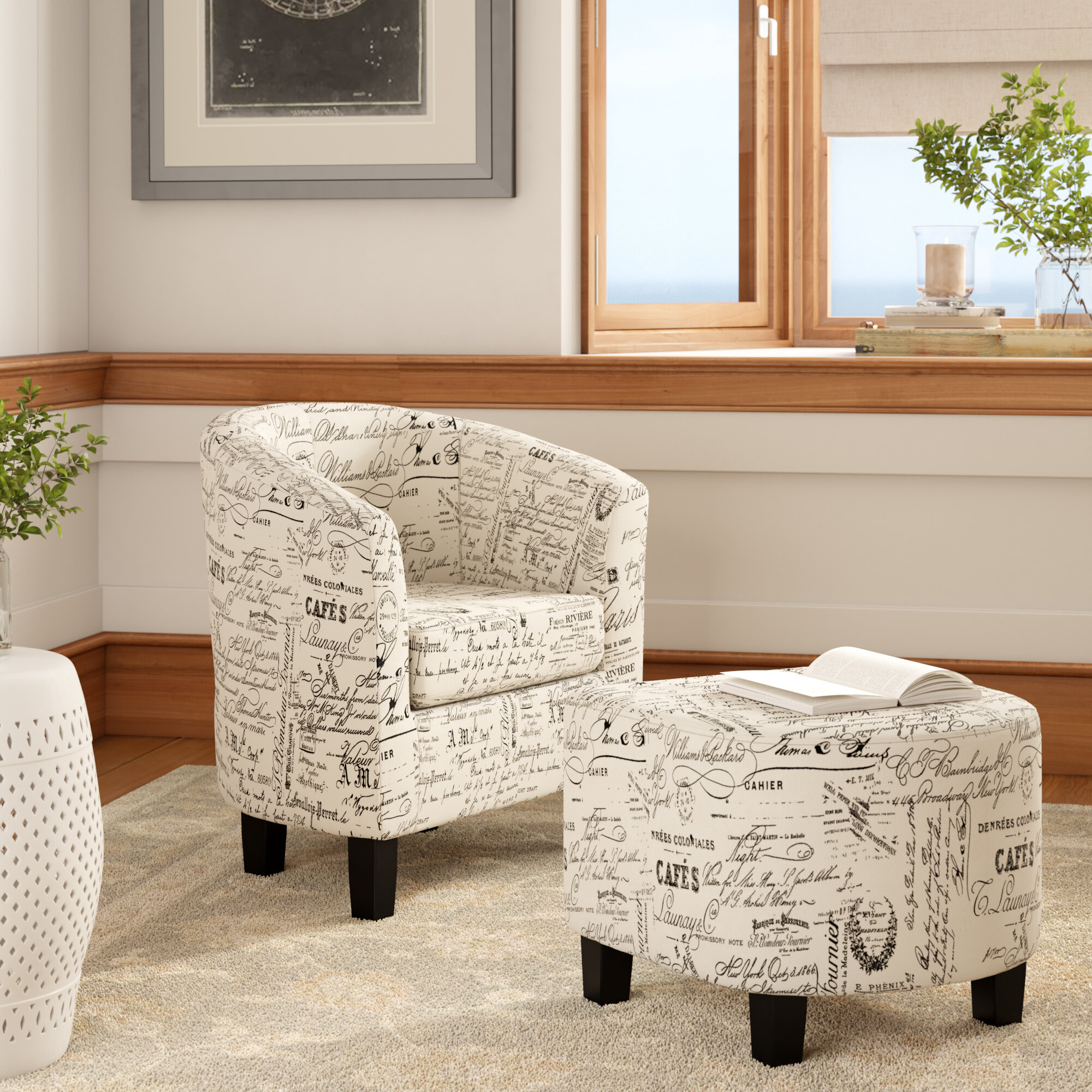 "Dario 22"" W Polyester Slipper Chair And Ottoman In Alexander Cotton Blend Armchairs And Ottoman (View 6 of 15)"