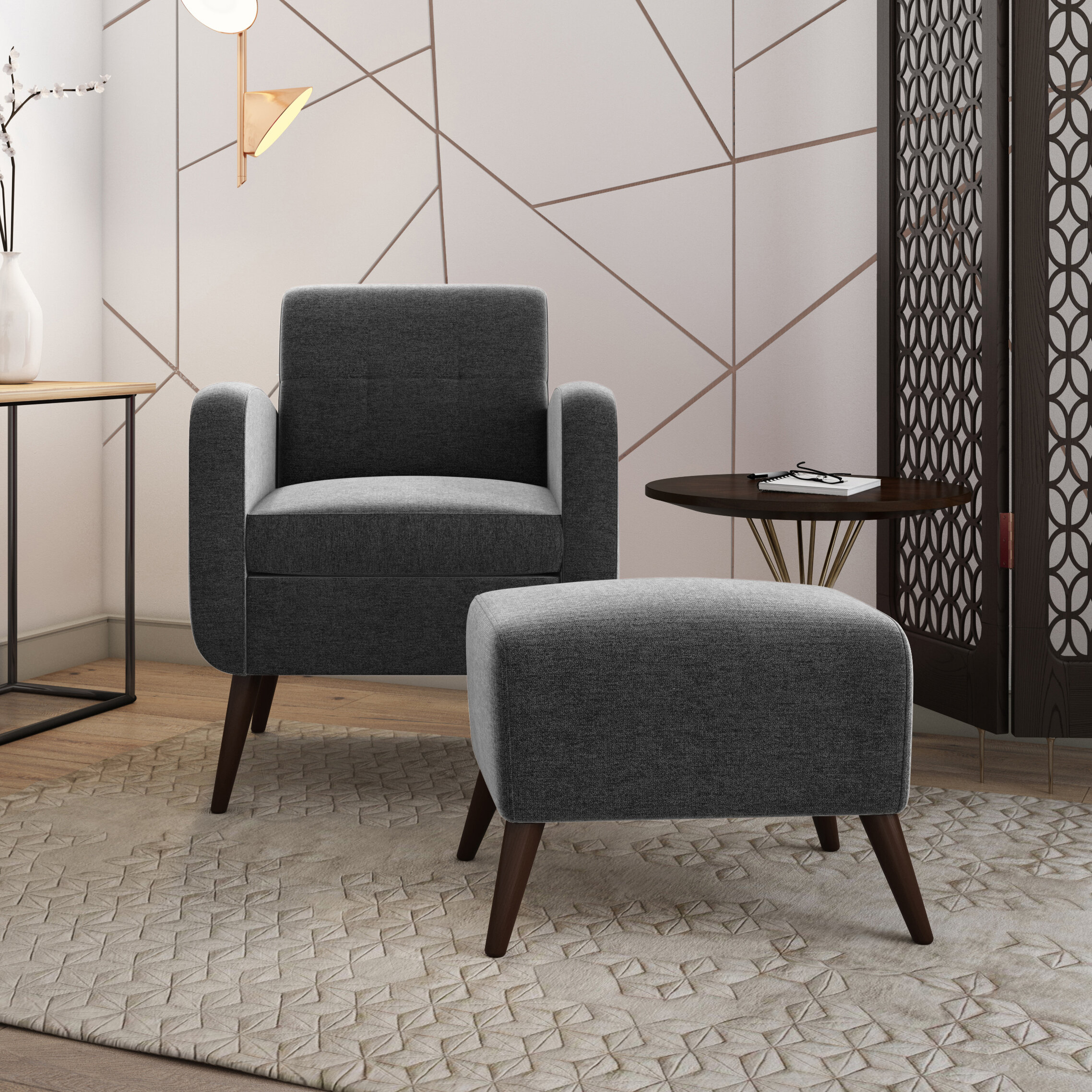 "Dario 22"" W Polyester Slipper Chair And Ottoman Throughout Alexander Cotton Blend Armchairs And Ottoman (View 14 of 15)"