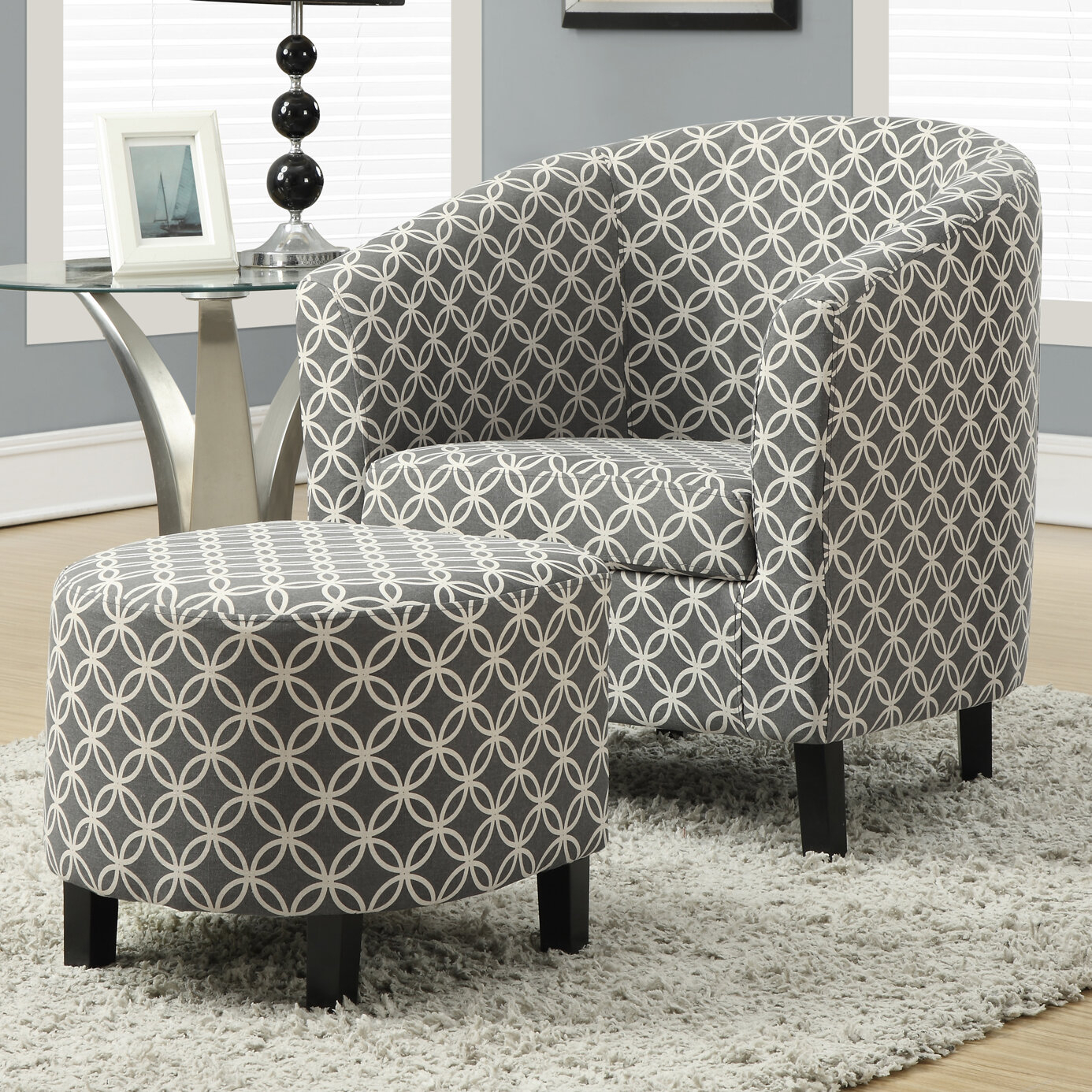 "Dario 22"" W Polyester Slipper Chair And Ottoman With Annegret Faux Leather Barrel Chair And Ottoman Sets (View 15 of 15)"